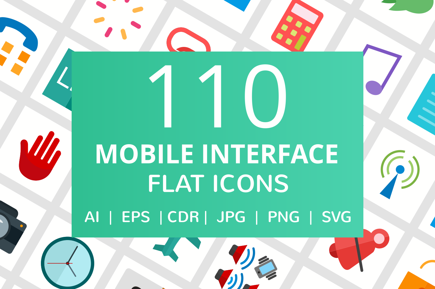 110 Mobile Interface Flat Icons example image 1