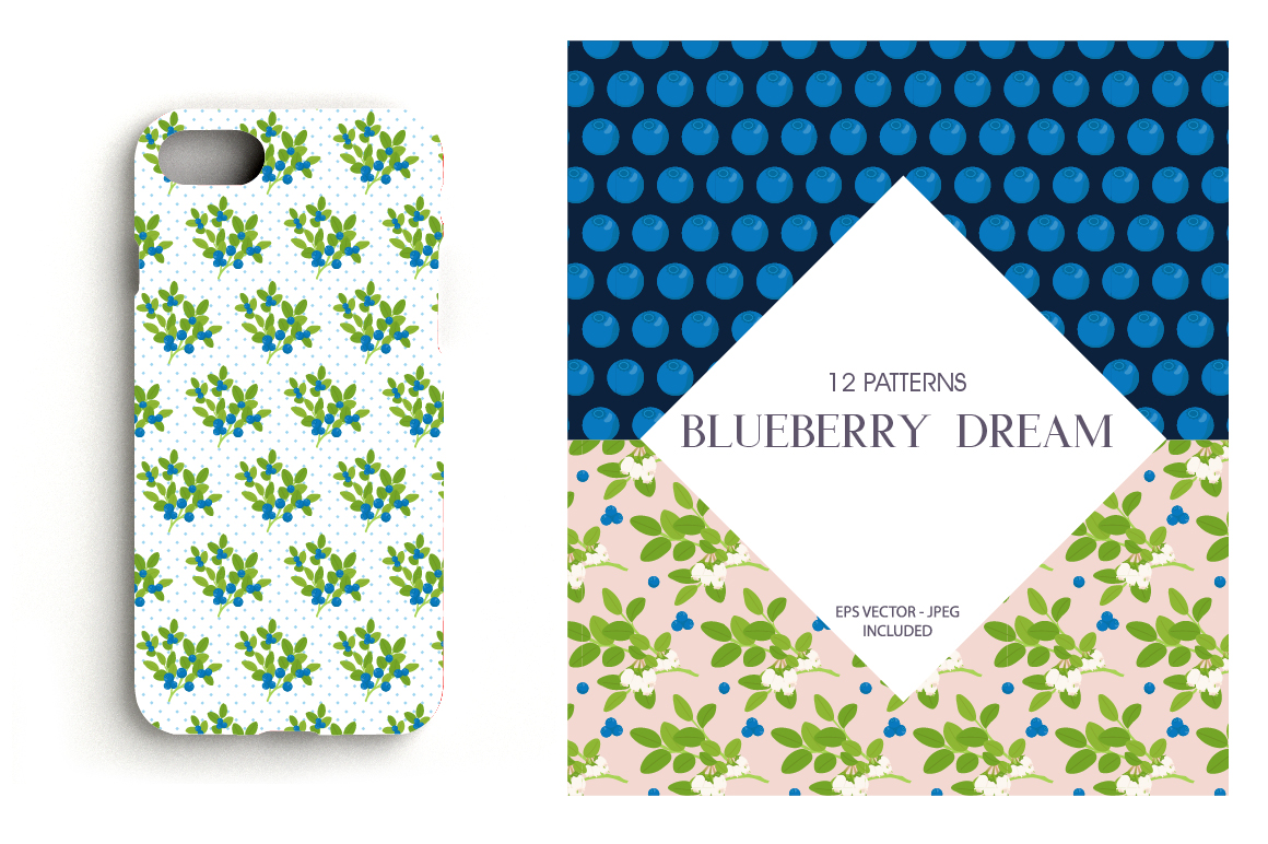 Blueberry Dream Pattern collection, vector ai, eps and jpeg example image 4