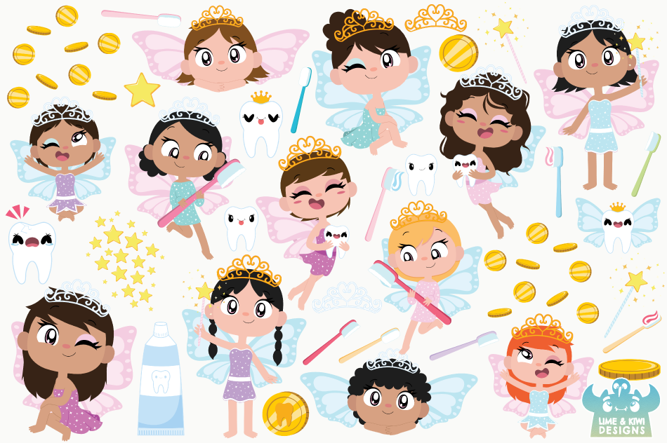 Tooth Fairy Clipart, Instant Download Vector Art example image 2