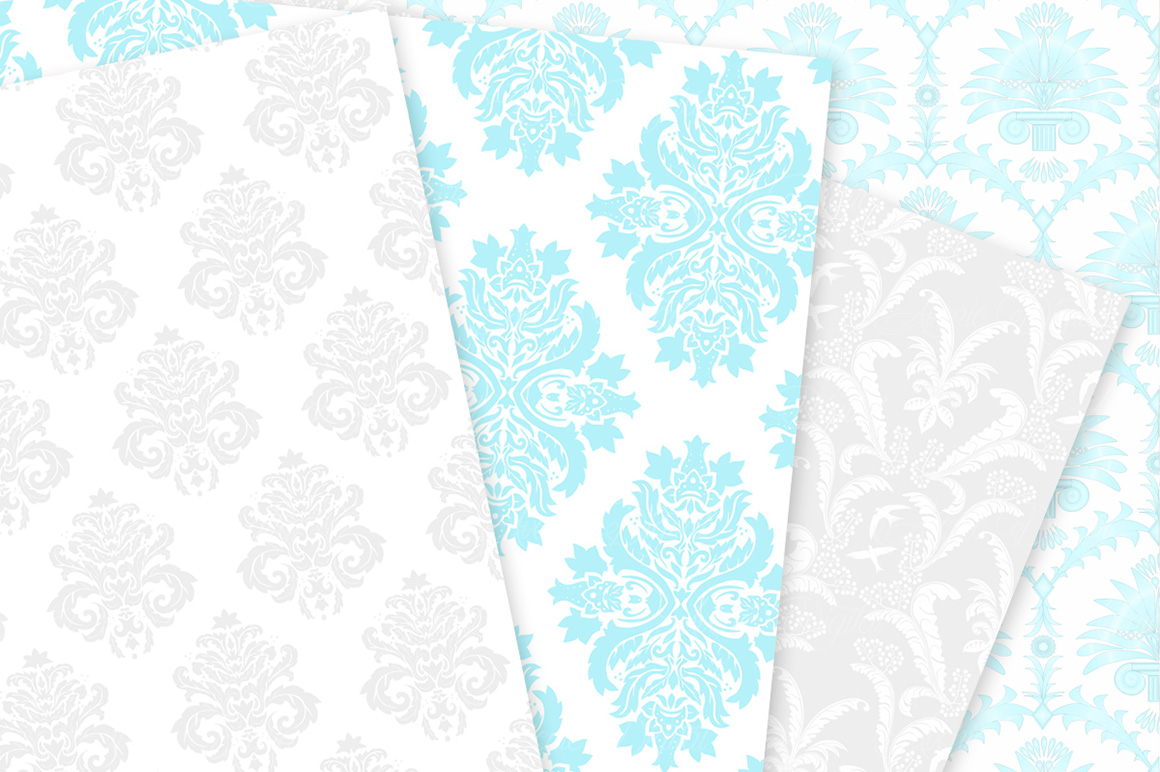 Blue and Grey Damask Patterns - Seamless Digital Papers example image 5