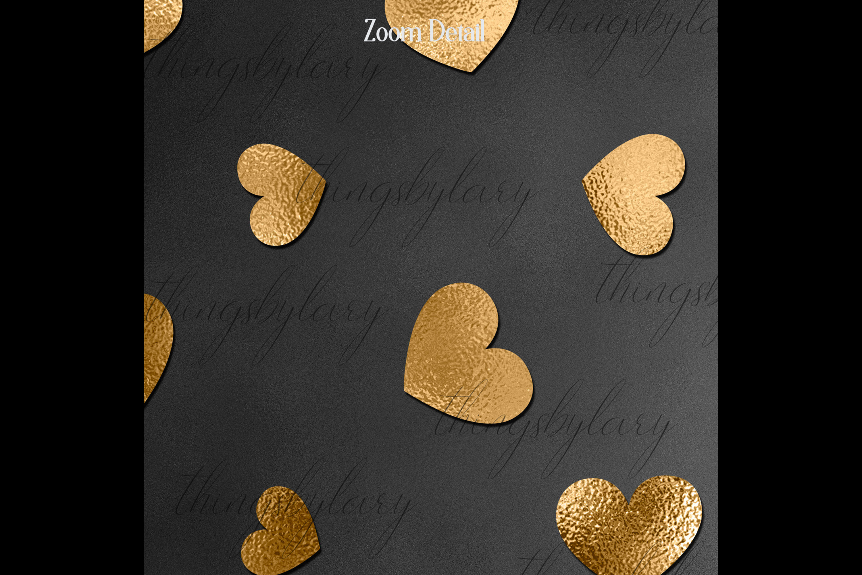 30 Black and Gold Valentine Love Heart Digital Papers Card example image 2