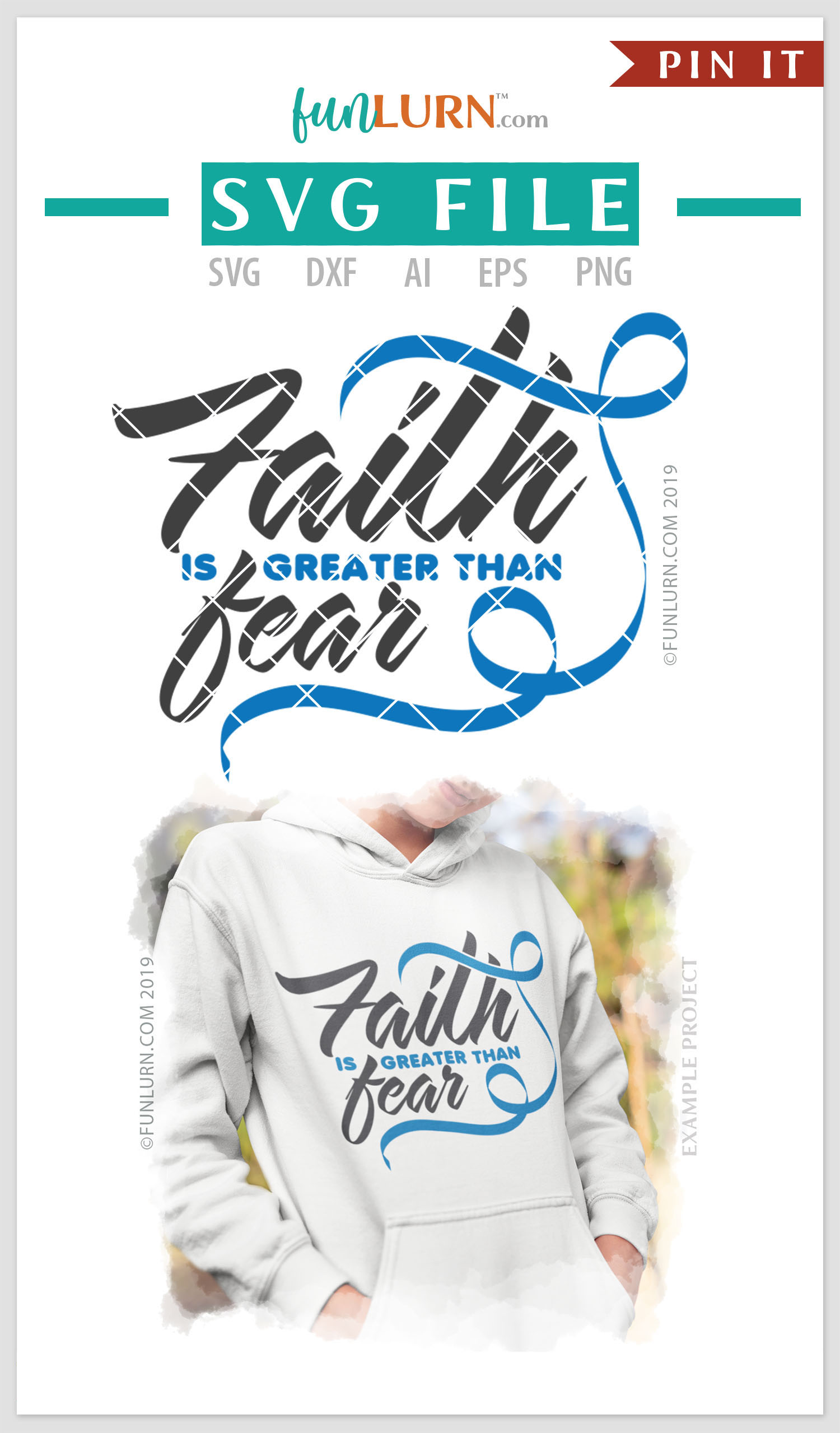 Faith is Greater Than Fear Blue Ribbon SVG Cut File example image 4