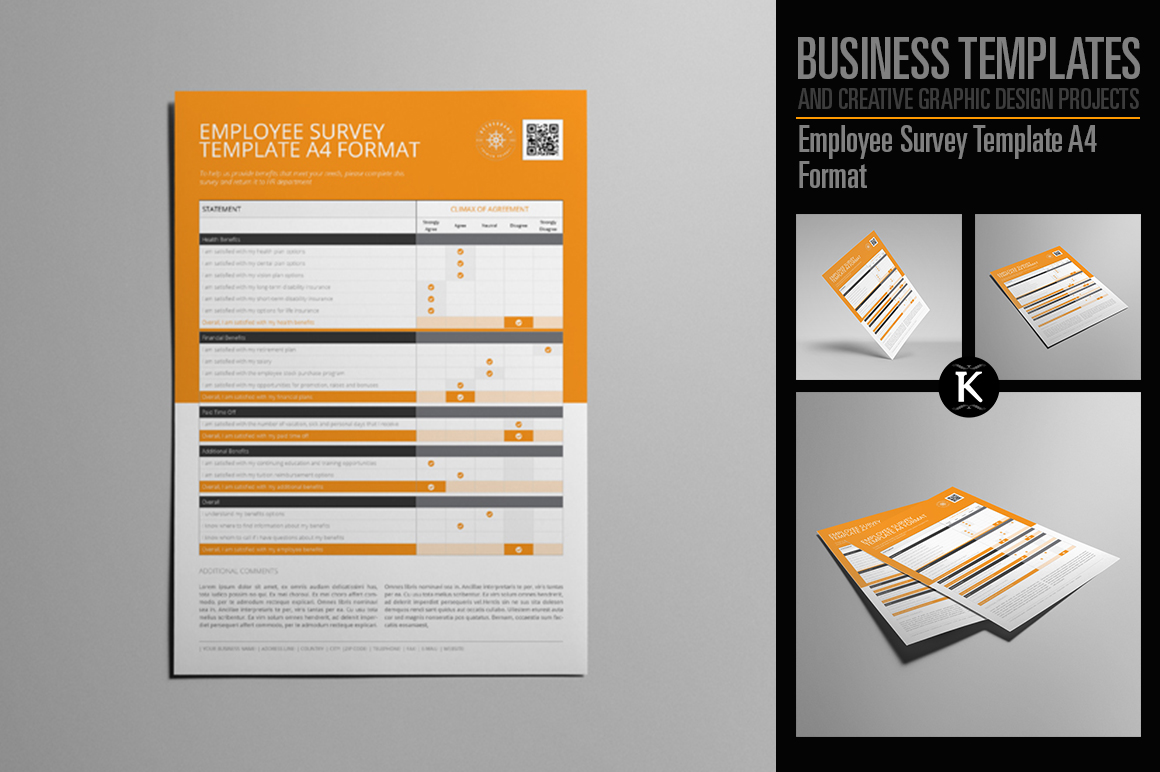 Employee Survey Template A4 Format example image 1