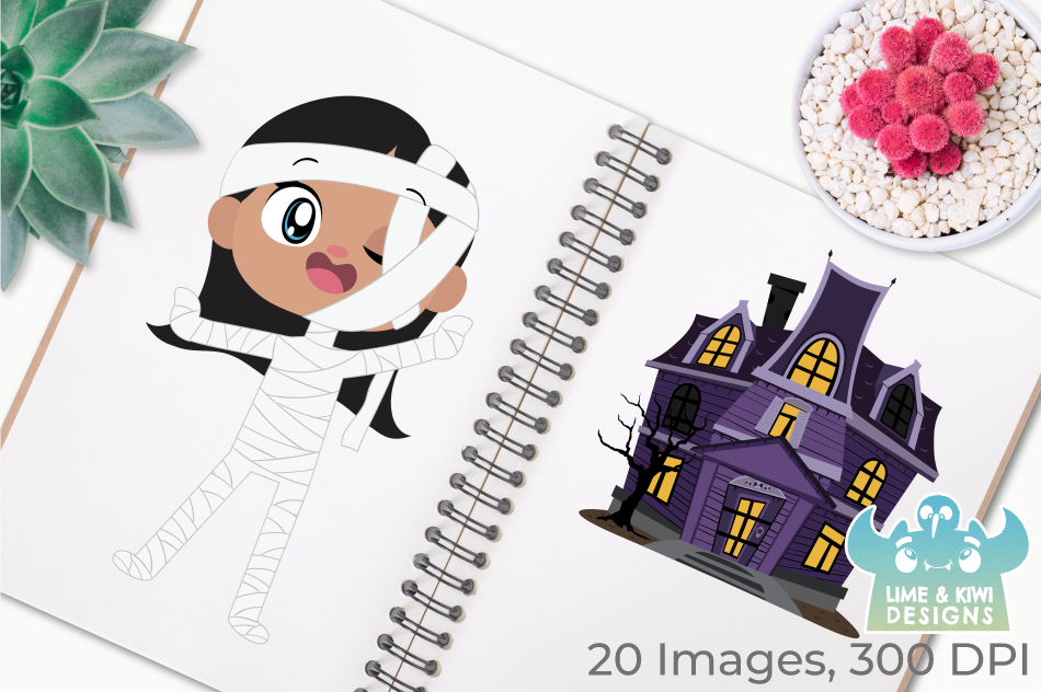 Mummy Girls Clipart, Instant Download Vector Art example image 3