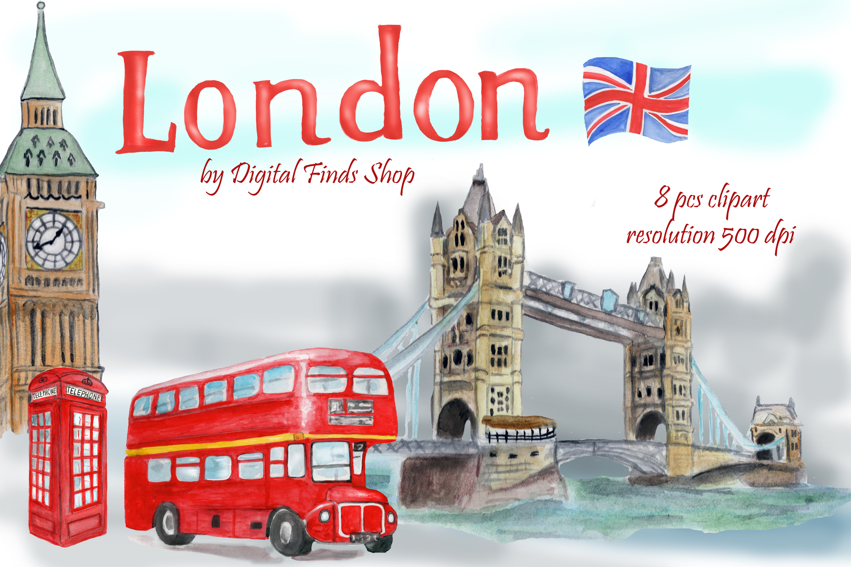 London symbols and landmark clipart Tower bridge, Big Ben example image 5