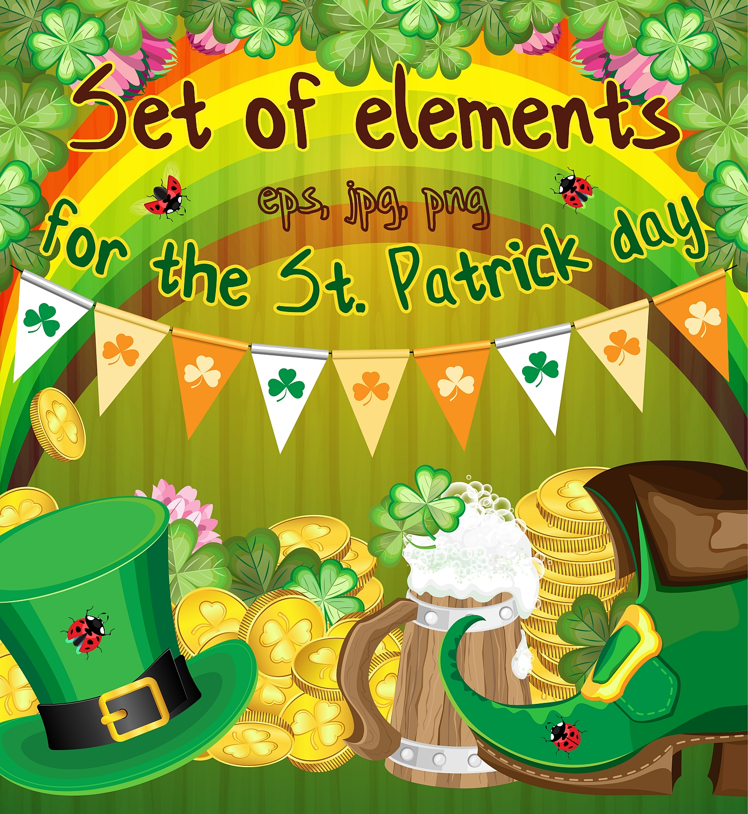 Set of elements for the st. Patrick`s Day example image 1