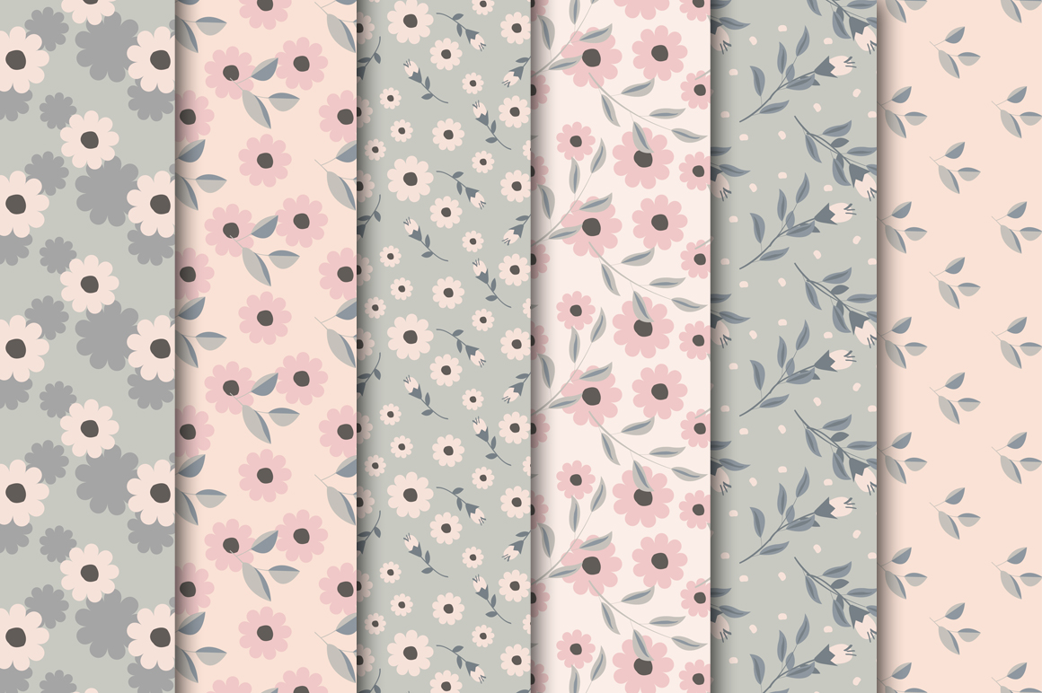 Gray-Pink Digital Papers example image 2