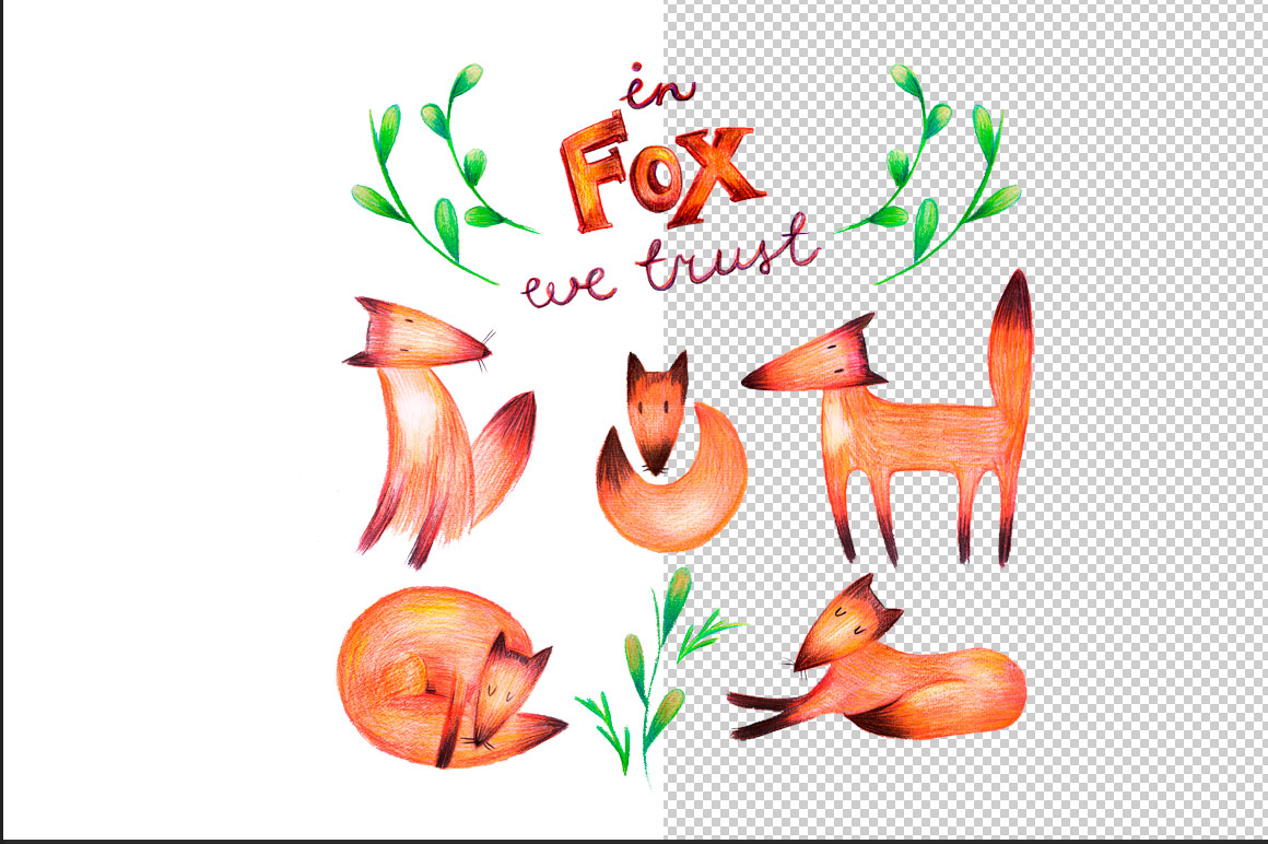 Hand drawn foxes set example image 2