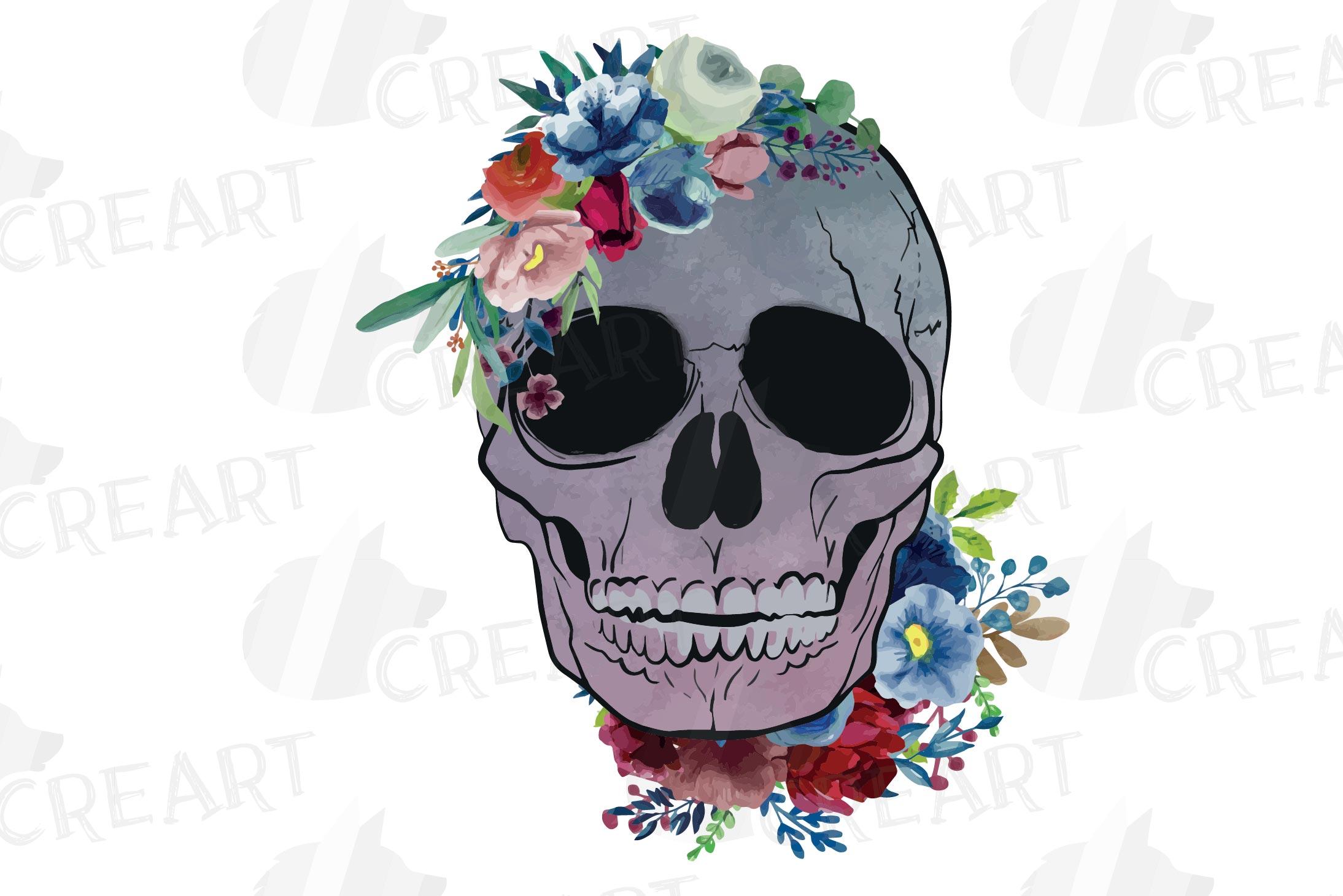 Floral skull watercolor decoration clip art. Skull shirt png example image 6