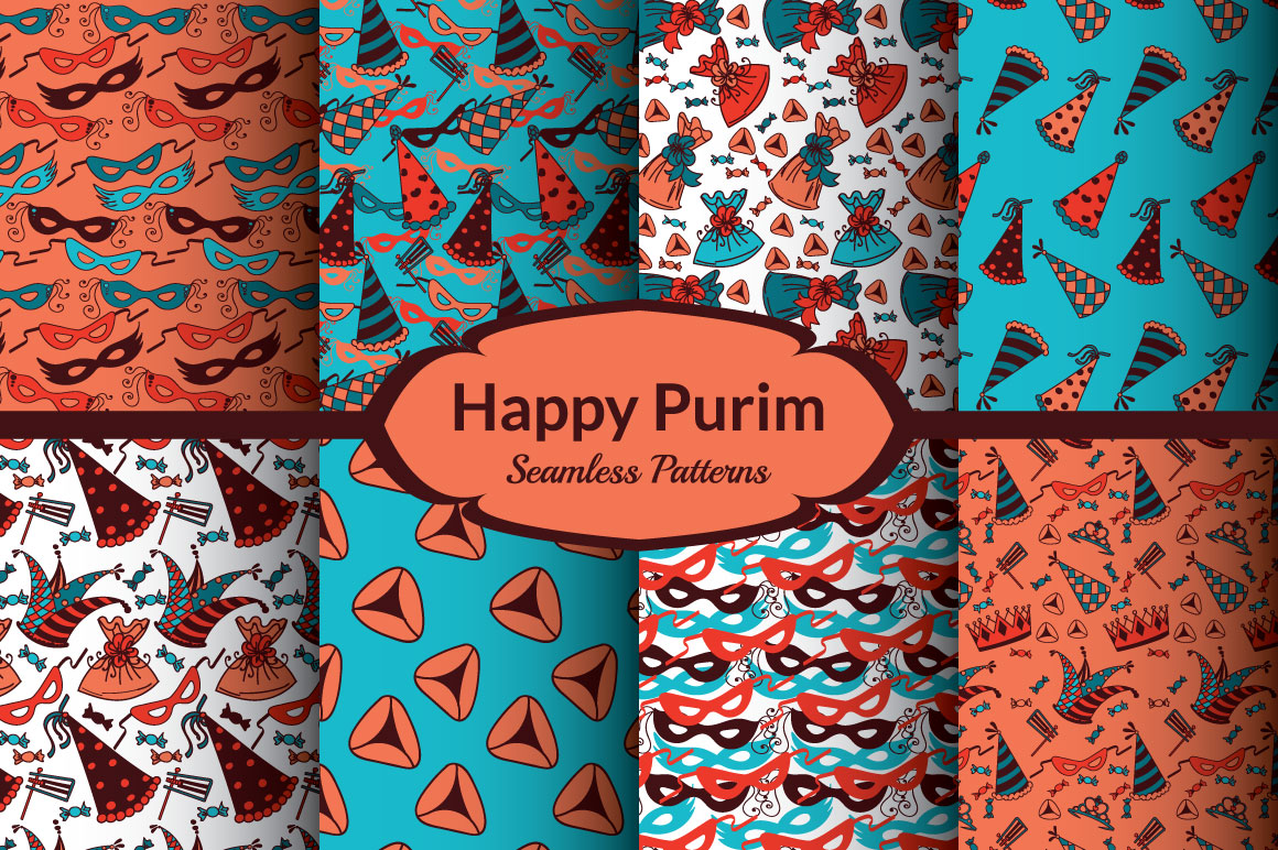Happy Purim - 8 Colorful Patterns example image 4