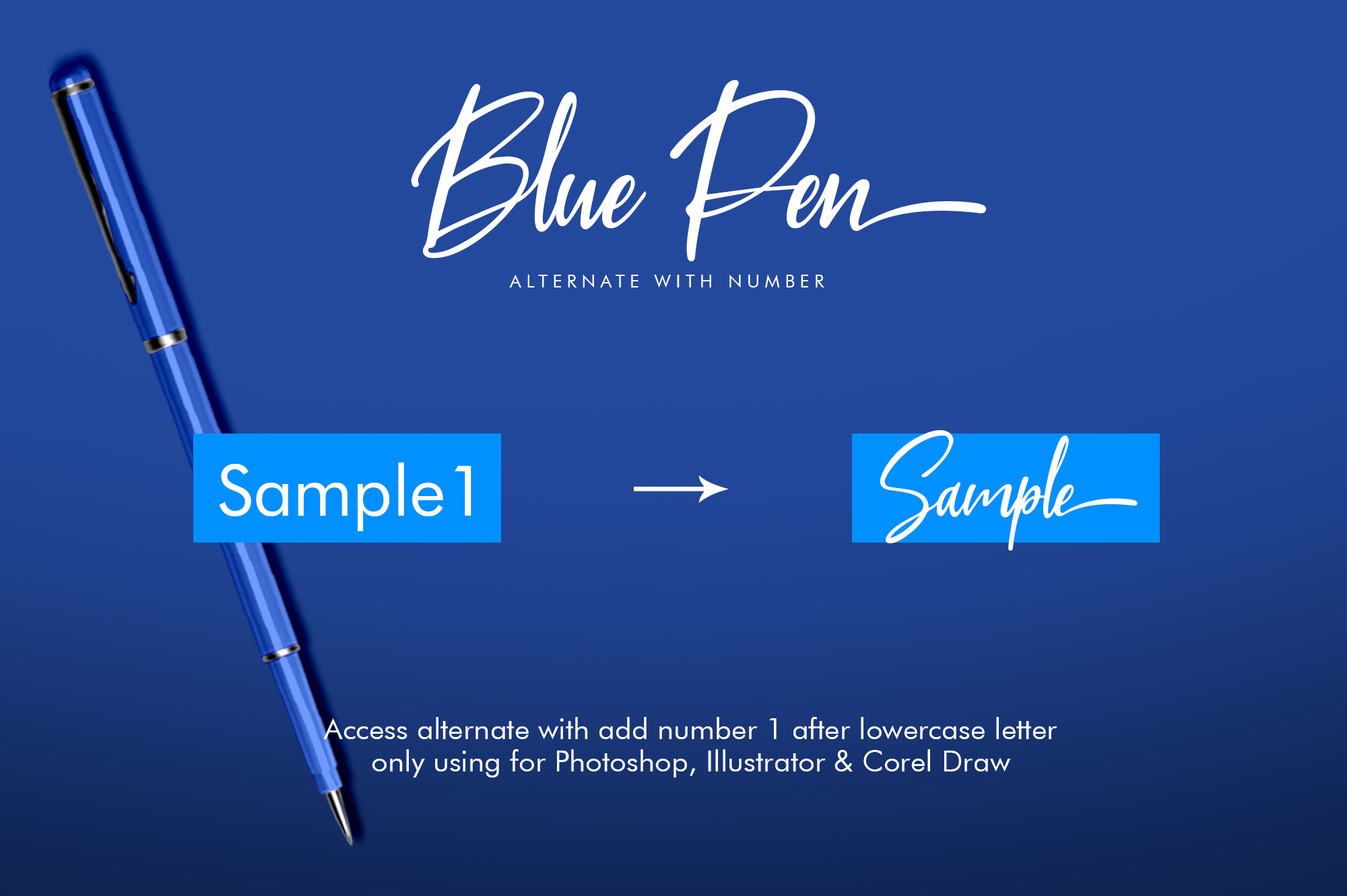 Blue Pen 3 Fonts example image 5