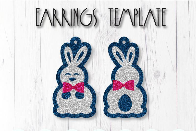 Rabbit earrings template SVG, DIY earrings template example image 1