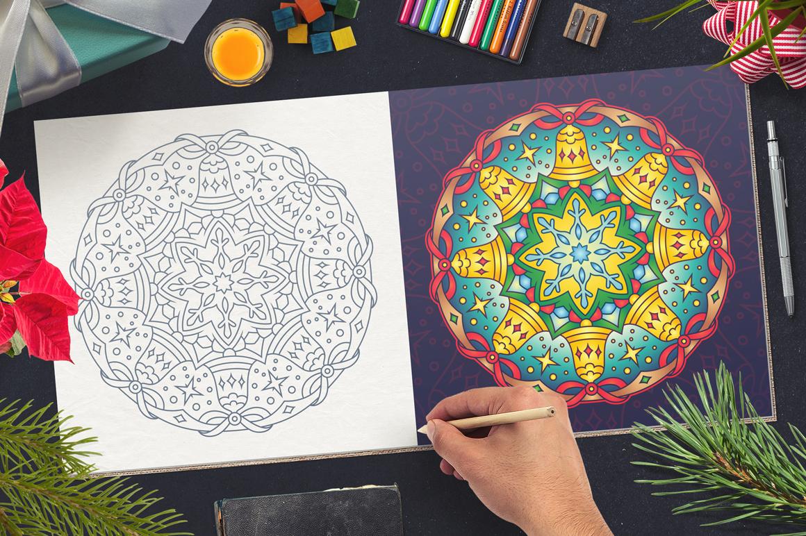 100 Christmas Mandala Ornaments example image 7