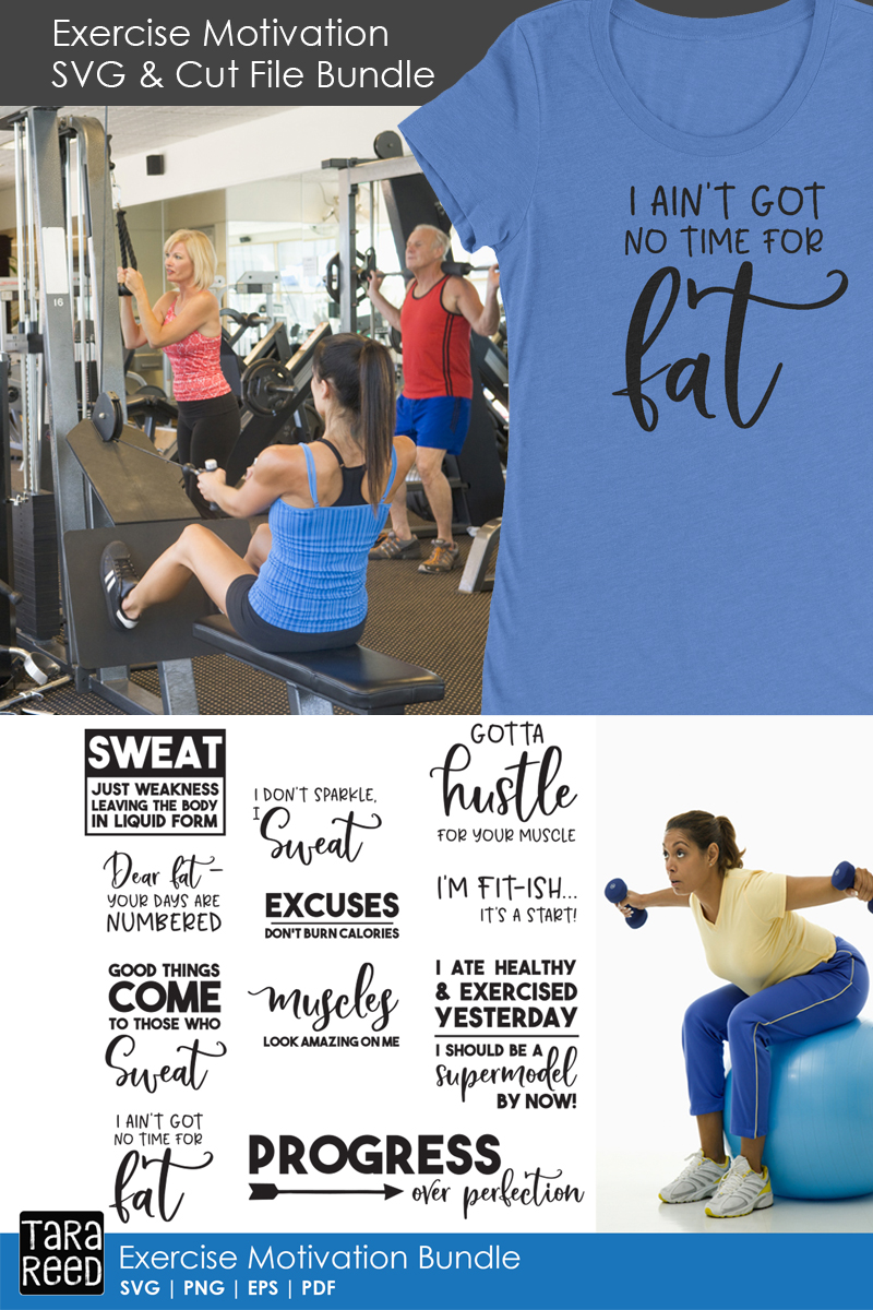 Exercise Motivation - Fitness SVG and Cut Files for Crafter example image 2