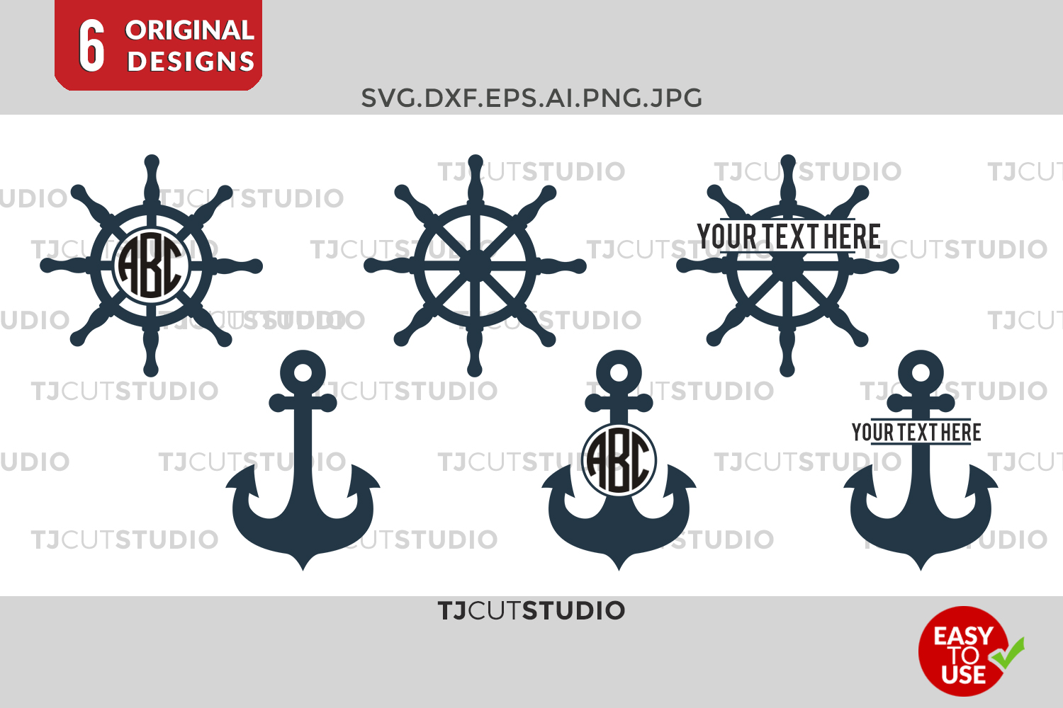 Anchor SVG Files, Anchors Split, Ship Wheel SVG cut files, Ship Wheel, Files for Silhouette Cameo or Cricut, Commercial & Personal Use. example image 1