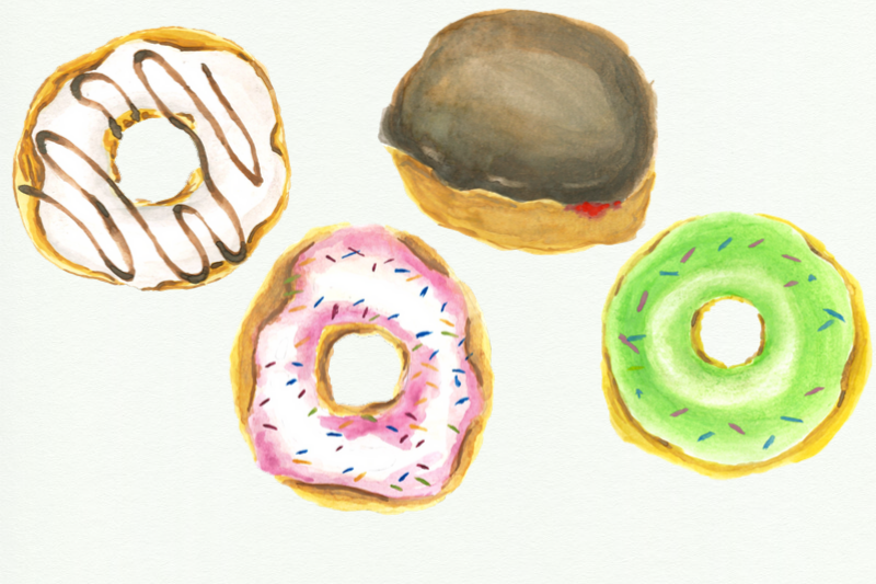 12 Watercolor Donuts Clipart, Pink Cute Donut, Wedding Bake example image 3