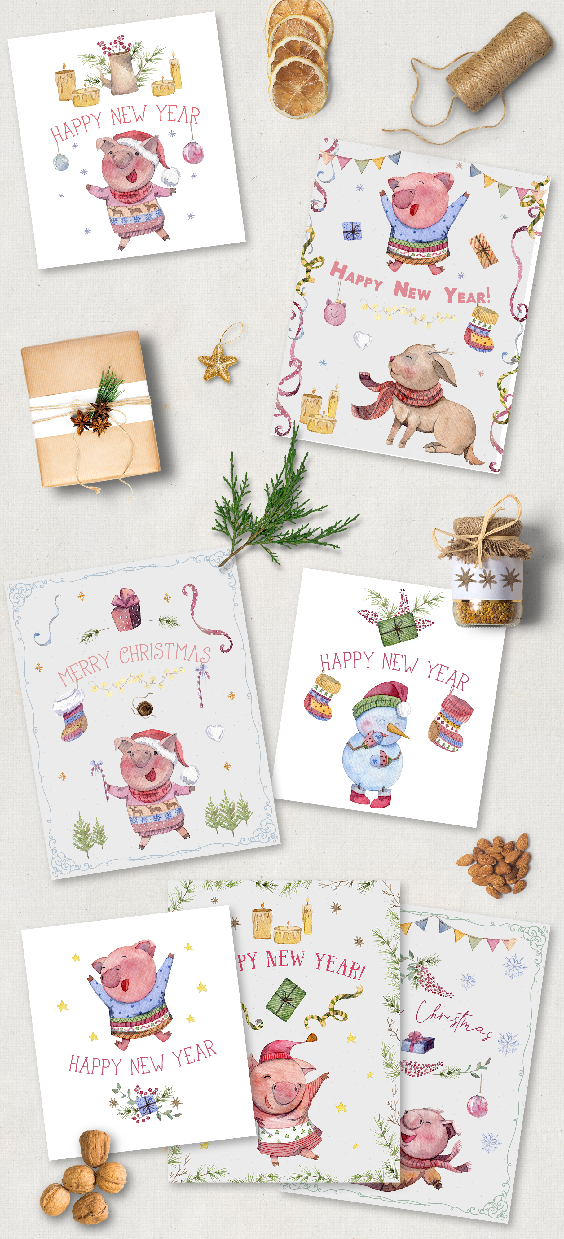 Merry pigsmas. Watercolor collection example image 2