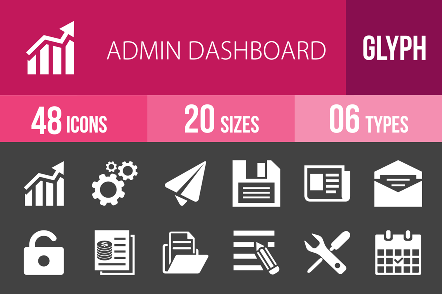 48 Admin Dashboard Glyph Inverted Icons example image 1