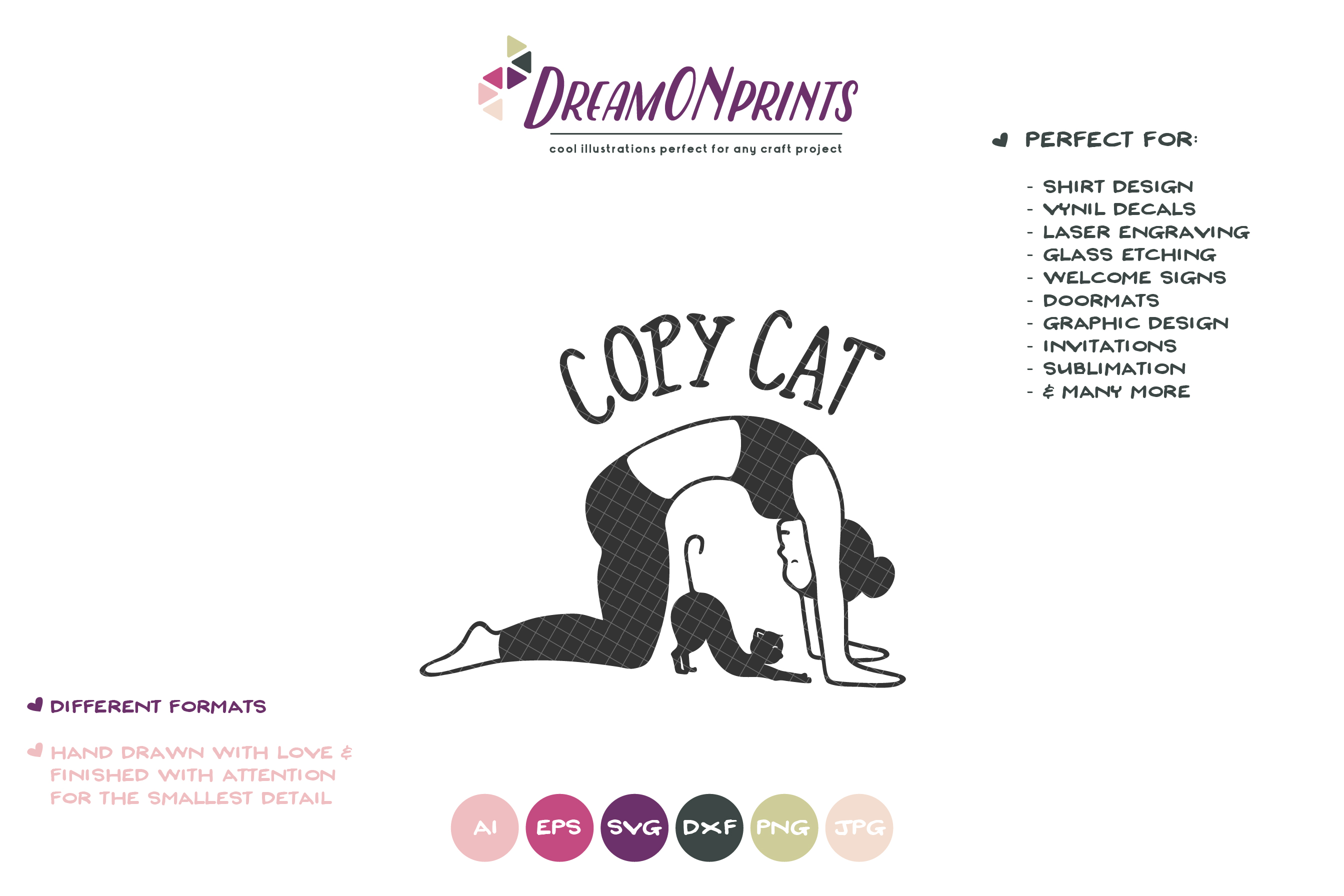 Copy Cat | Cat Yoga SVG | Fun Yoga Design example image 2