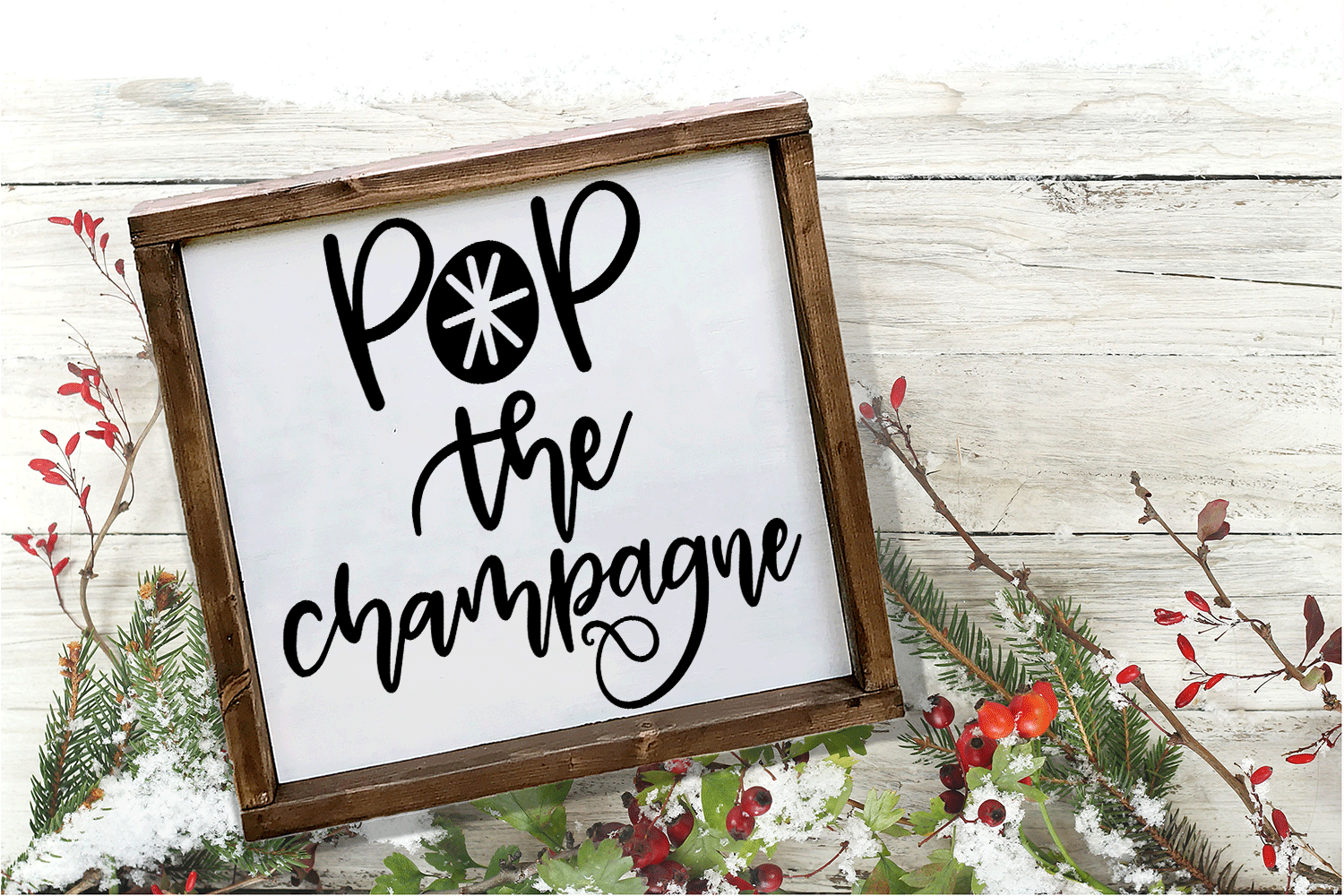 New Year SVG - Pop the Champagne Hand-Lettered Cut File example image 1