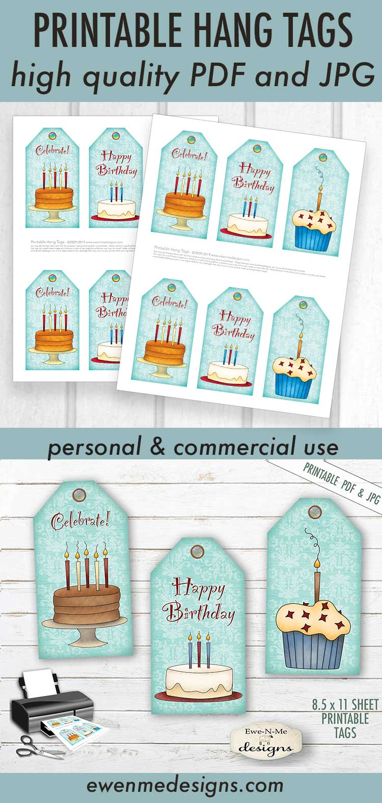 Printable Birthday Tags - Cake Cupcakes - PDF & JPG example image 3