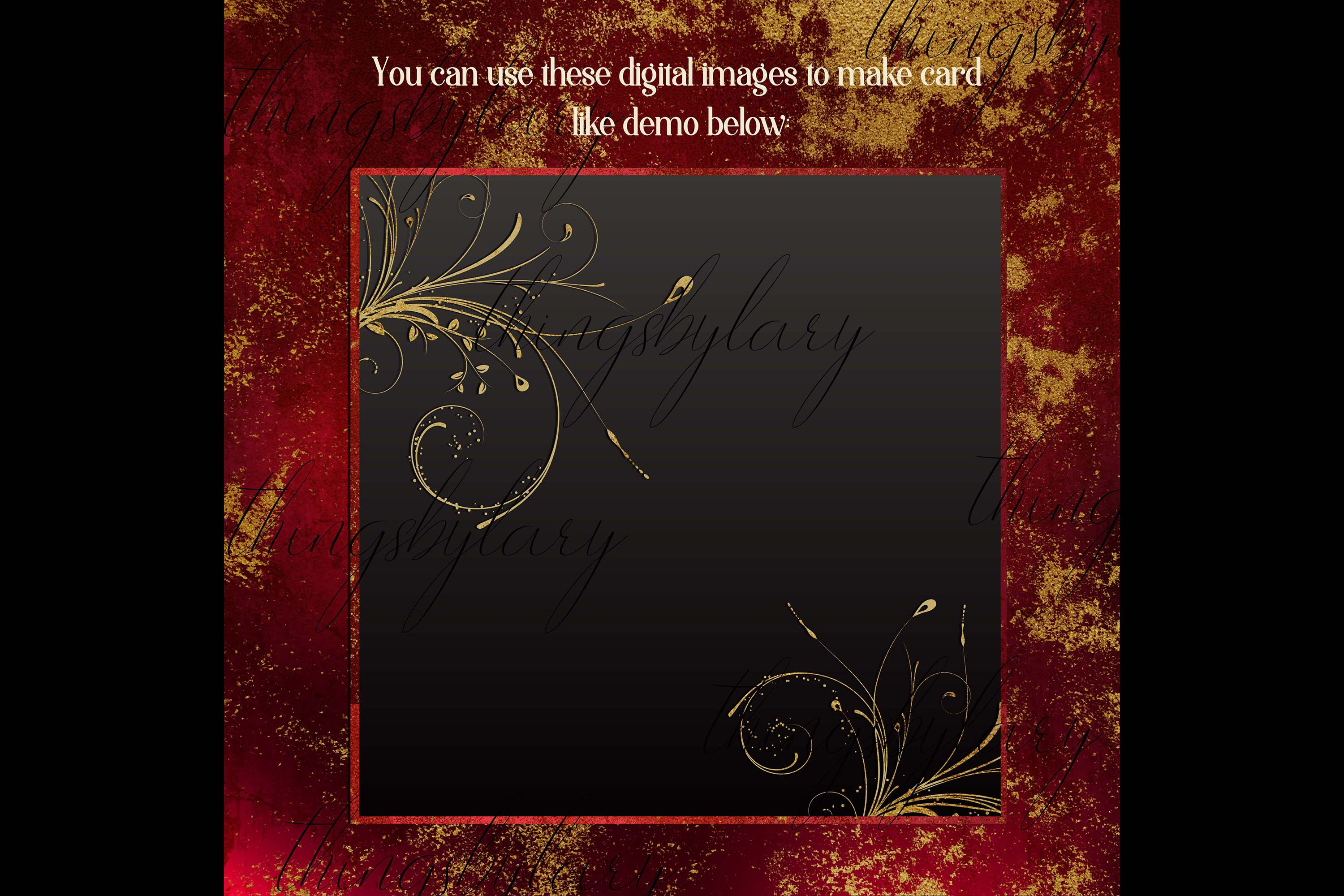 16 Distressed Red and Gold Artistic Painted Digital Papers example image 7