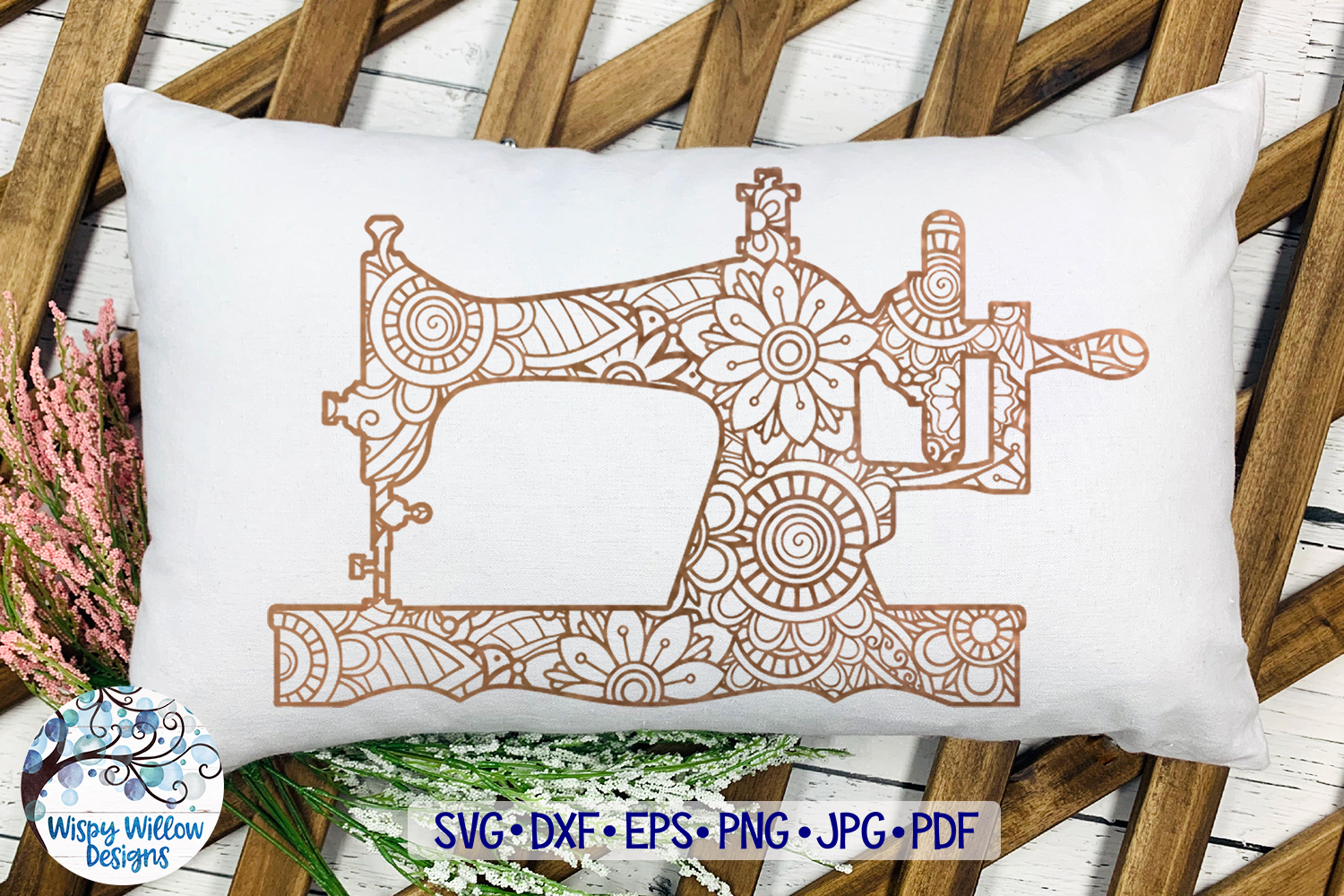 Sewing Machine Zentangle SVG example image 2