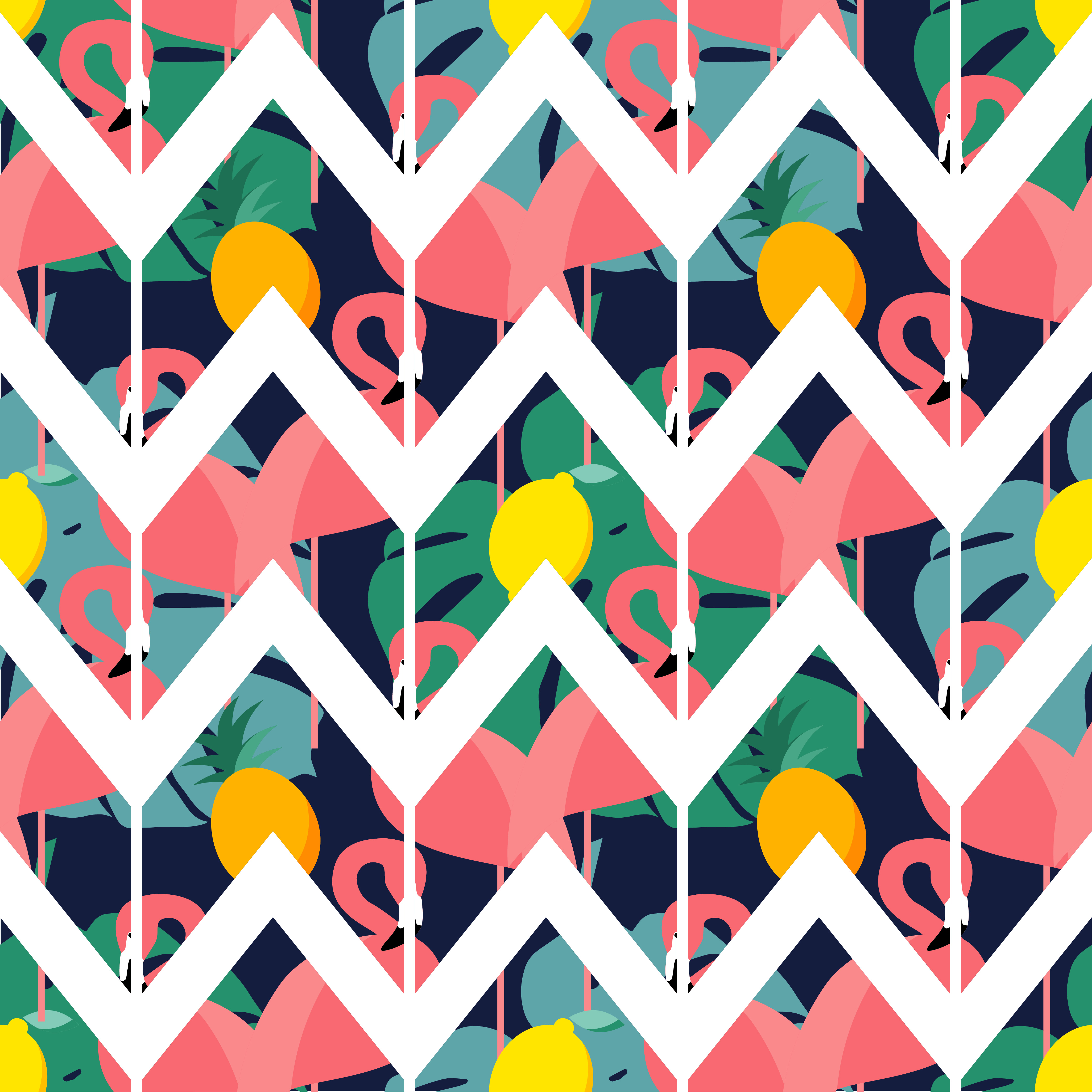 Seamless vector background with pattern of Pink Flamingos. example image 1
