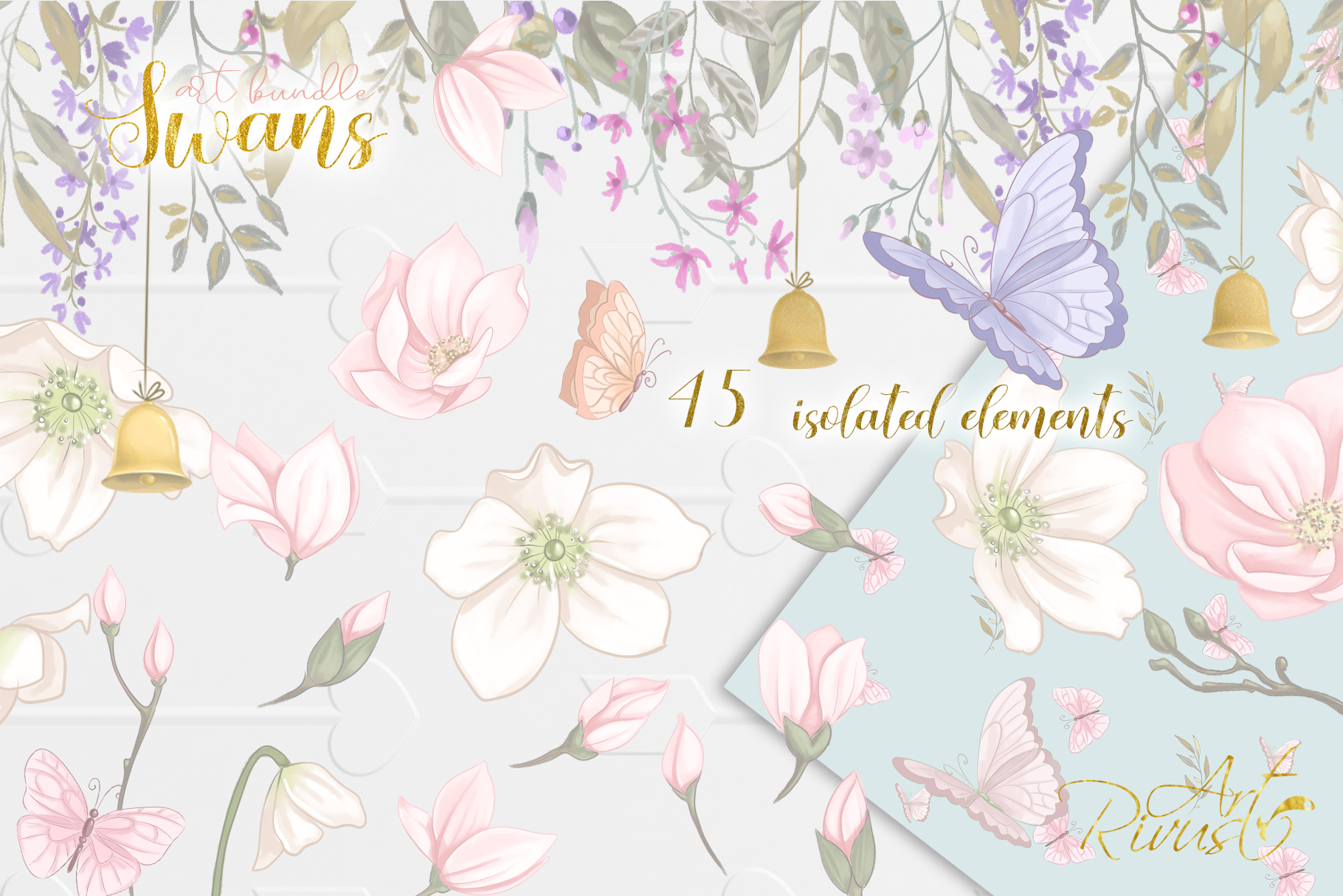 Swans clipart bundle. Wedding and baby shower graphic pack. example image 8