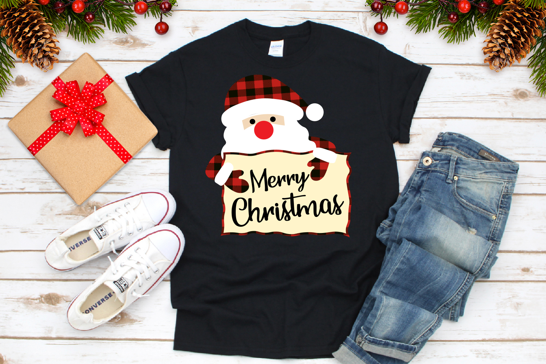 Merry Christmas Svg, Santa Claus Buffalo Plaid Svg example image 3
