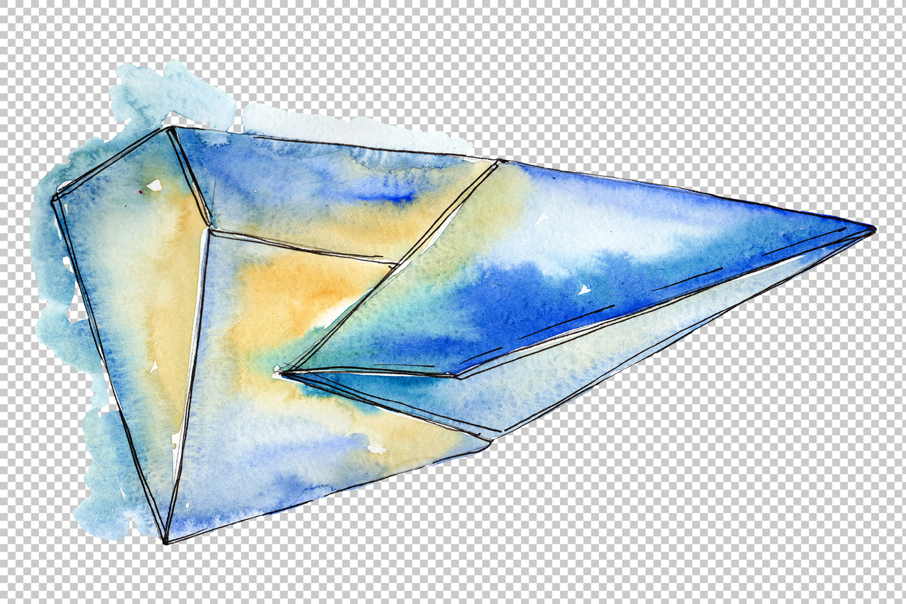Crystals are many-sided Watercolor png example image 2