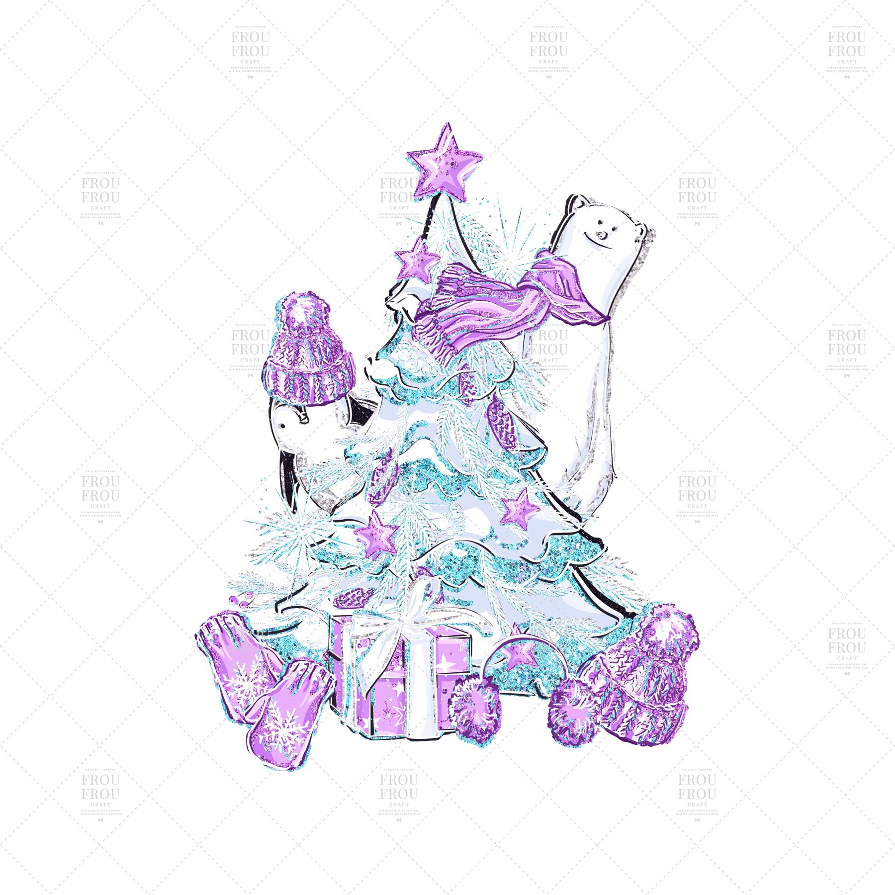 Winter Christmas Tree Penguin Bear Clip Art example image 8