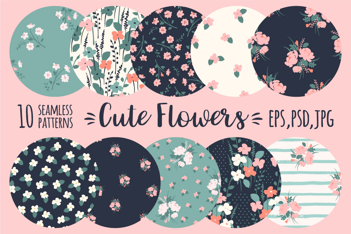 Cute flowers. 10 seamless patterns. example image 1