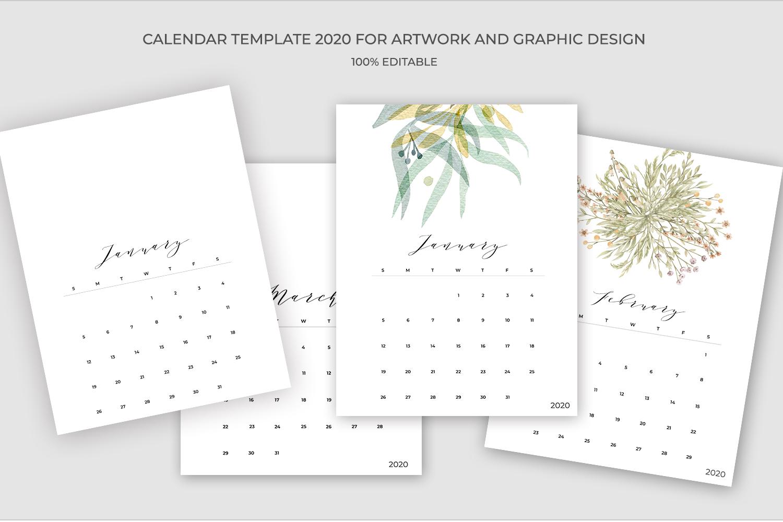 2020 Calendar Template PSD-JPG-PDF | Easy to edit example image 2