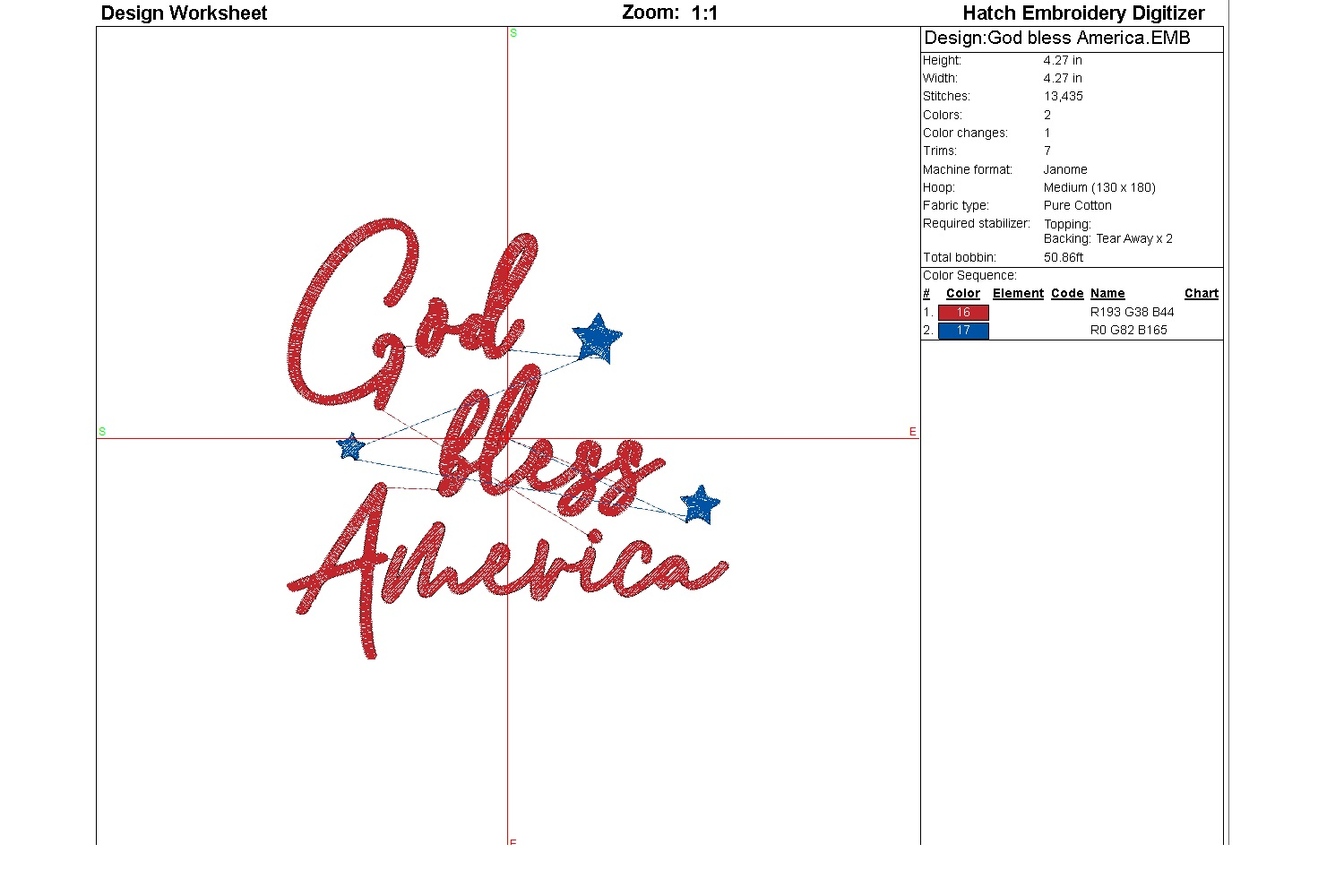 God bless America| Independence day | Machine embroidery| example image 3