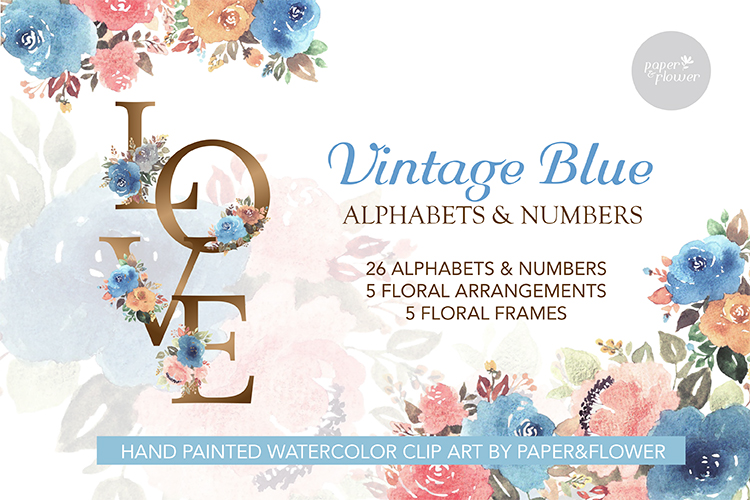 Vintage Blue Floral Watercolor Alphabet Set example image 1