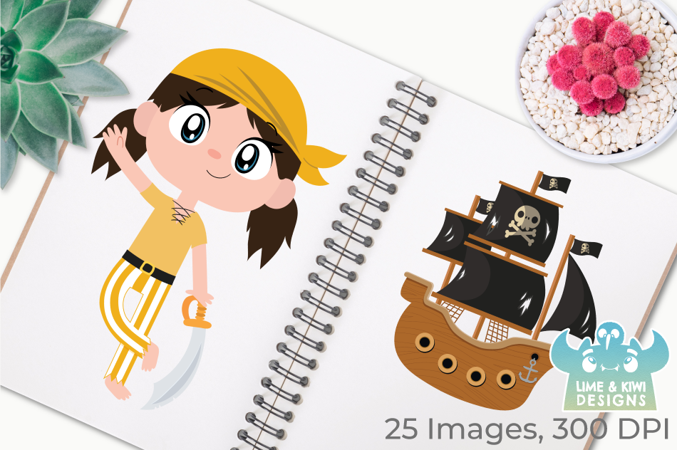 Pirate Girls 1 Clipart, Instant Download Vector Art example image 3