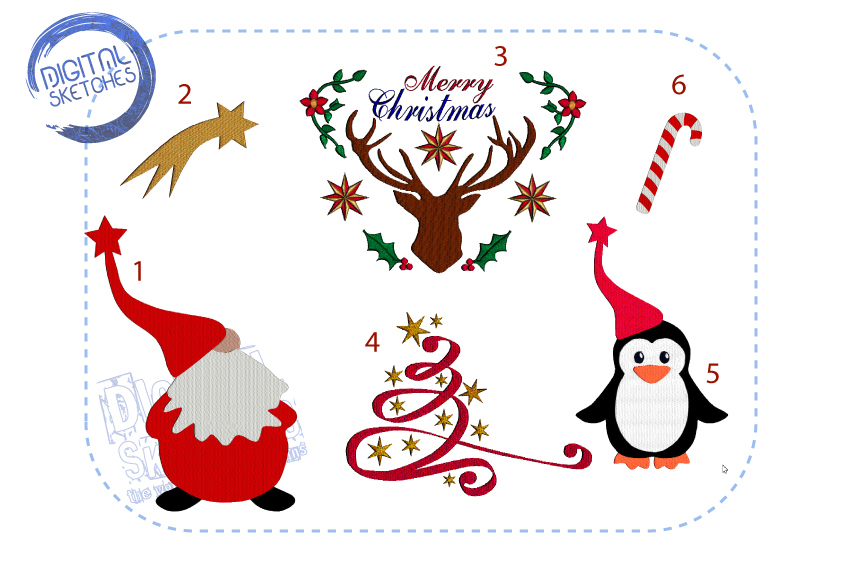 Christmas Machine Embroidery Design Set Merry Christmas Deer example image 1