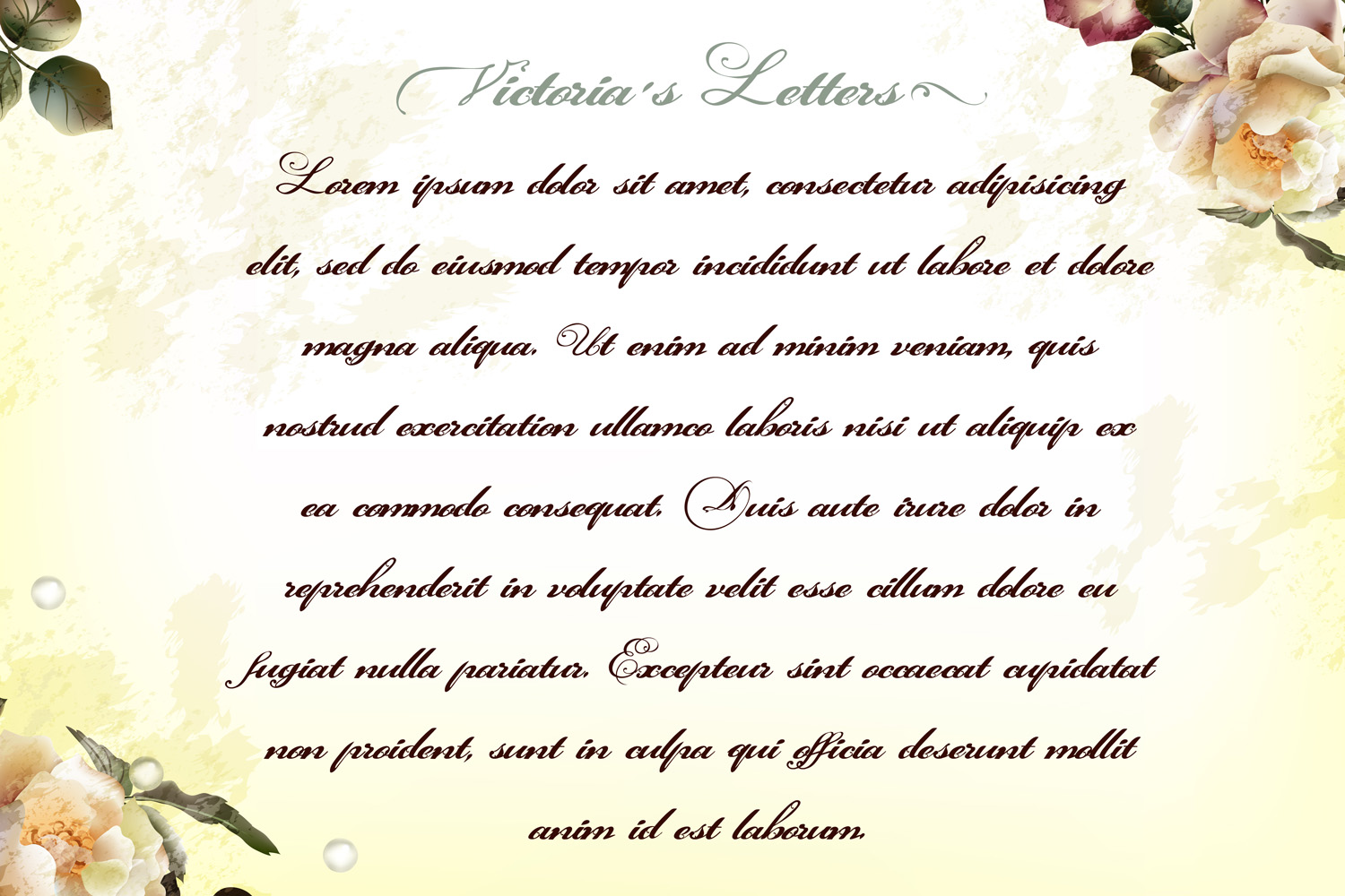 Victorias letters. New calligraphic font example image 3