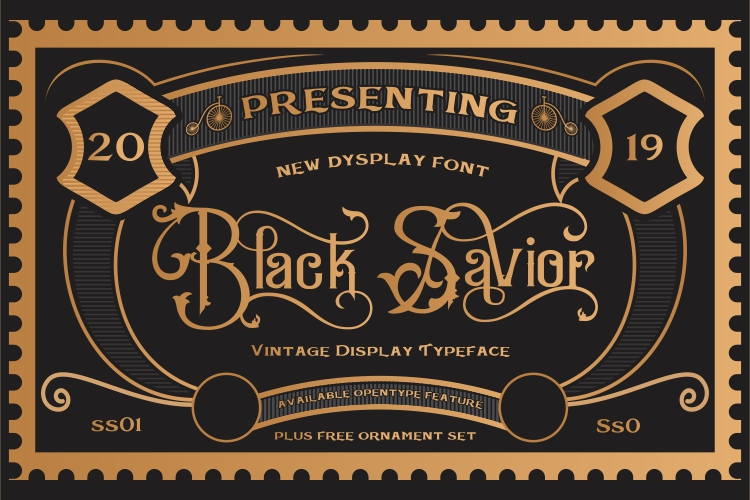 Black Savior - decorative calligraphy Display Font example image 8
