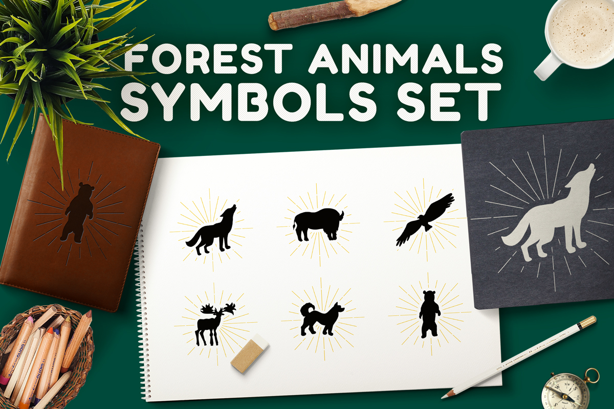 Forest Animals Symbols Set example image 1