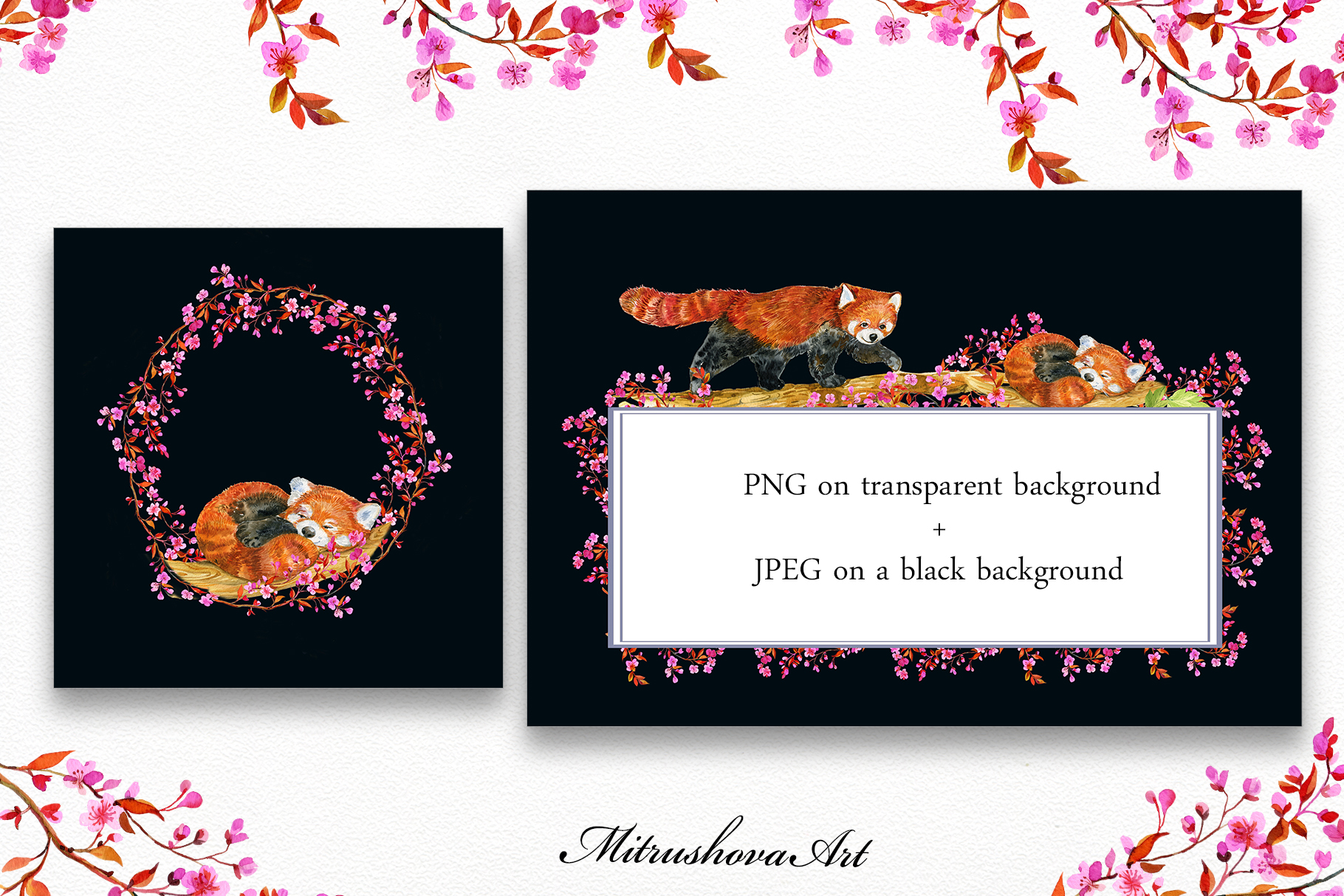Red Panda ,watercolor illustrations example image 4