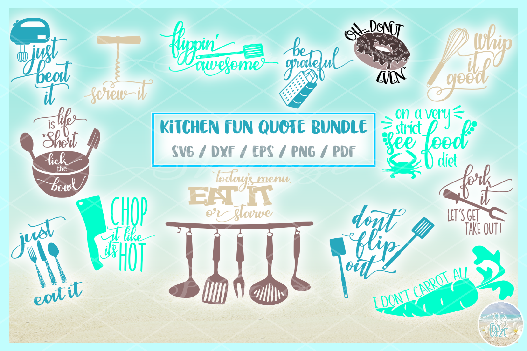 Fun Kitchen Quote Bundle SVG Dxf Eps Png PDF files example image 3