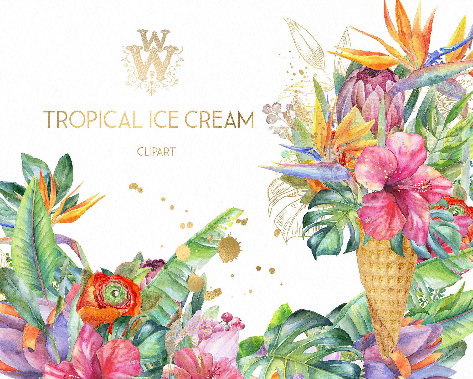 Watercolor summer tropical flower clipart, floral Ice Cream example image 9