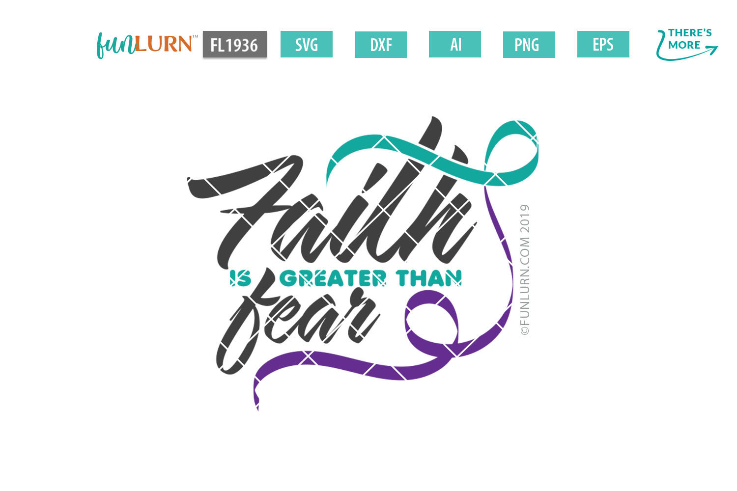 Faith is Greater Than Fear Teal and Purple Ribbon SVG example image 2