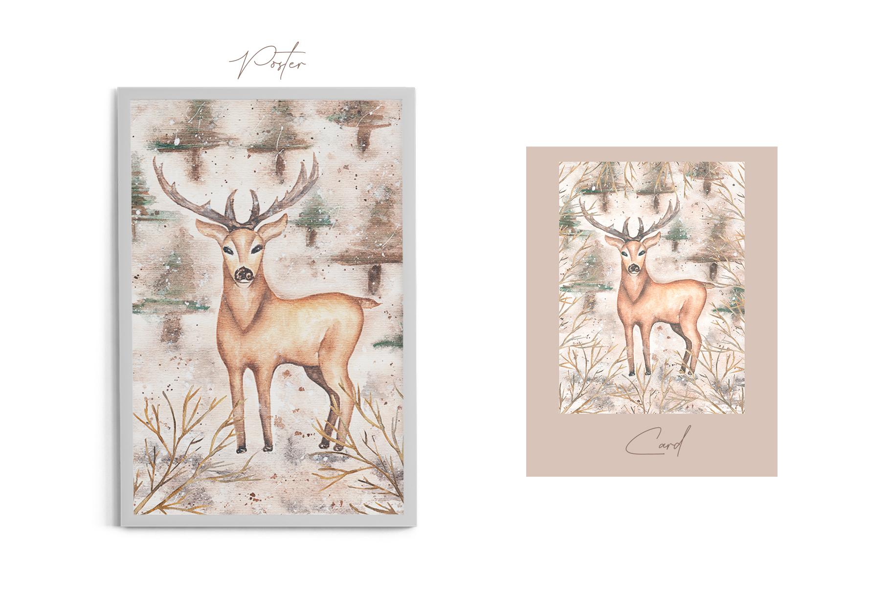 Watercolor winter deer cards example image 3