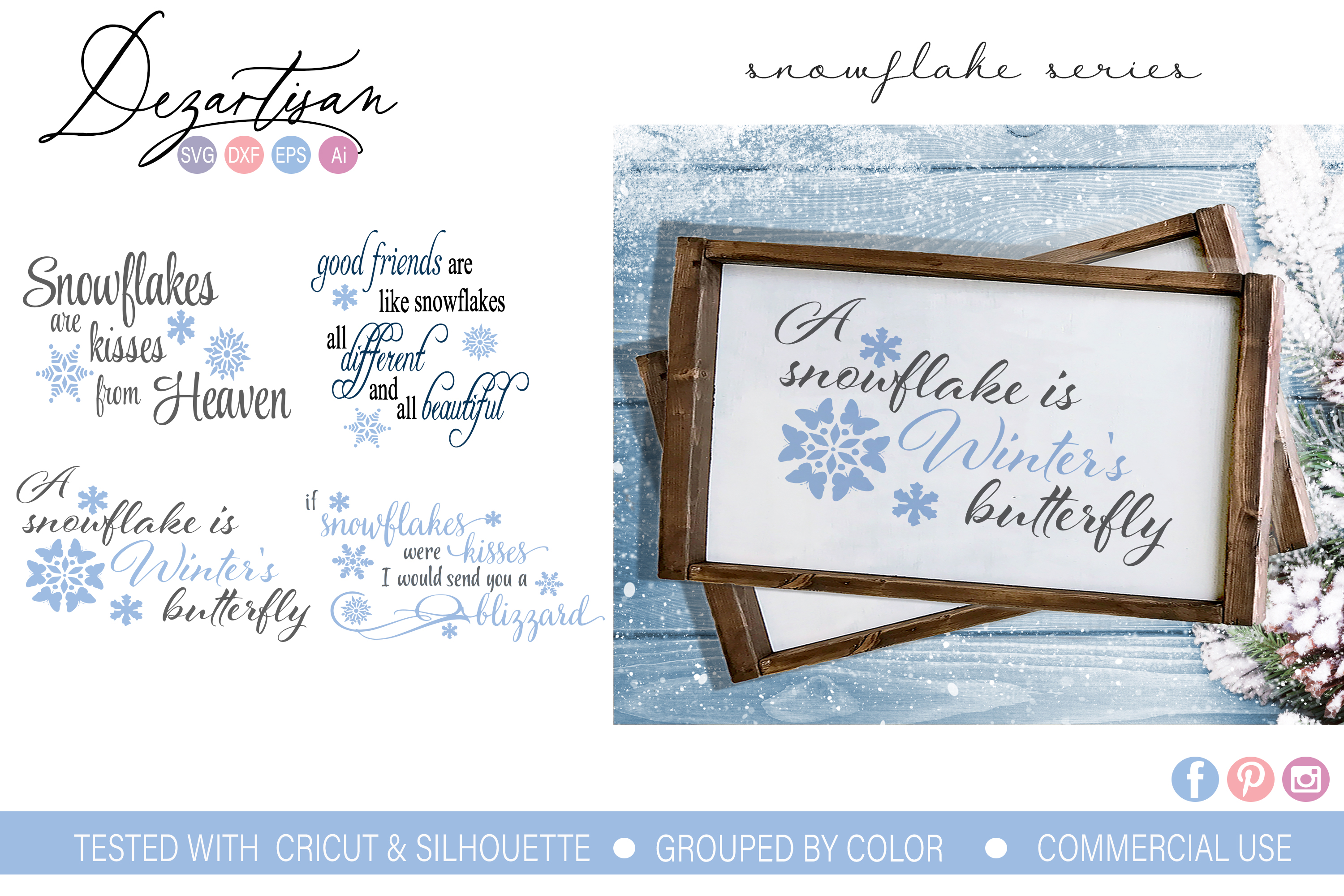 Snowflake Blizzard Bundle SVG DXF cut file example image 1