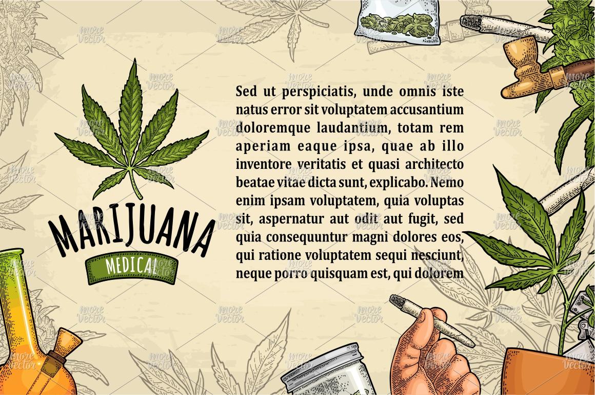 Marijuana Cigarette pipe bud hand leaf. Engraving example image 5