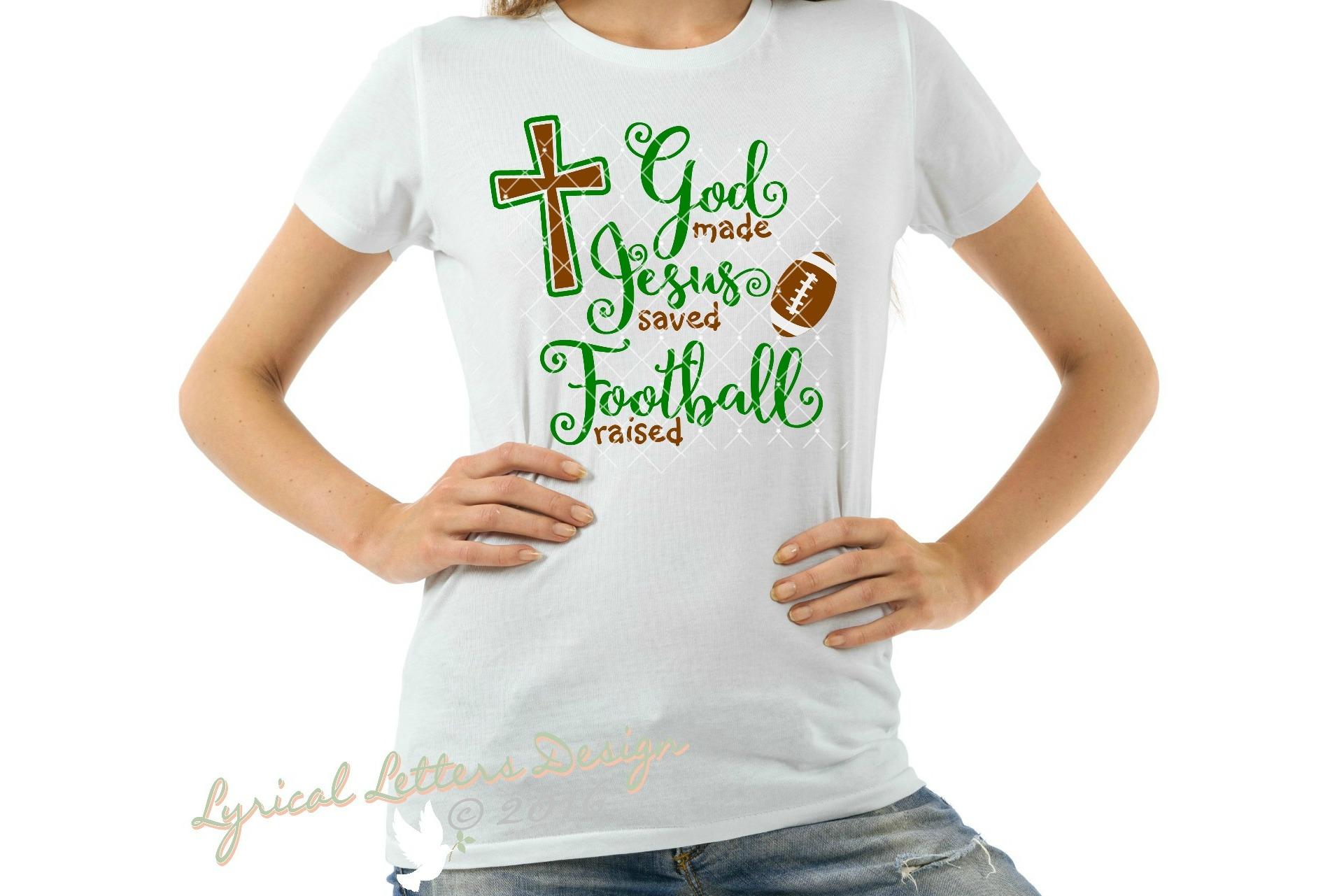 God Made Jesus Saved Football Raised SVG DXF Cut File LL151C example image 2