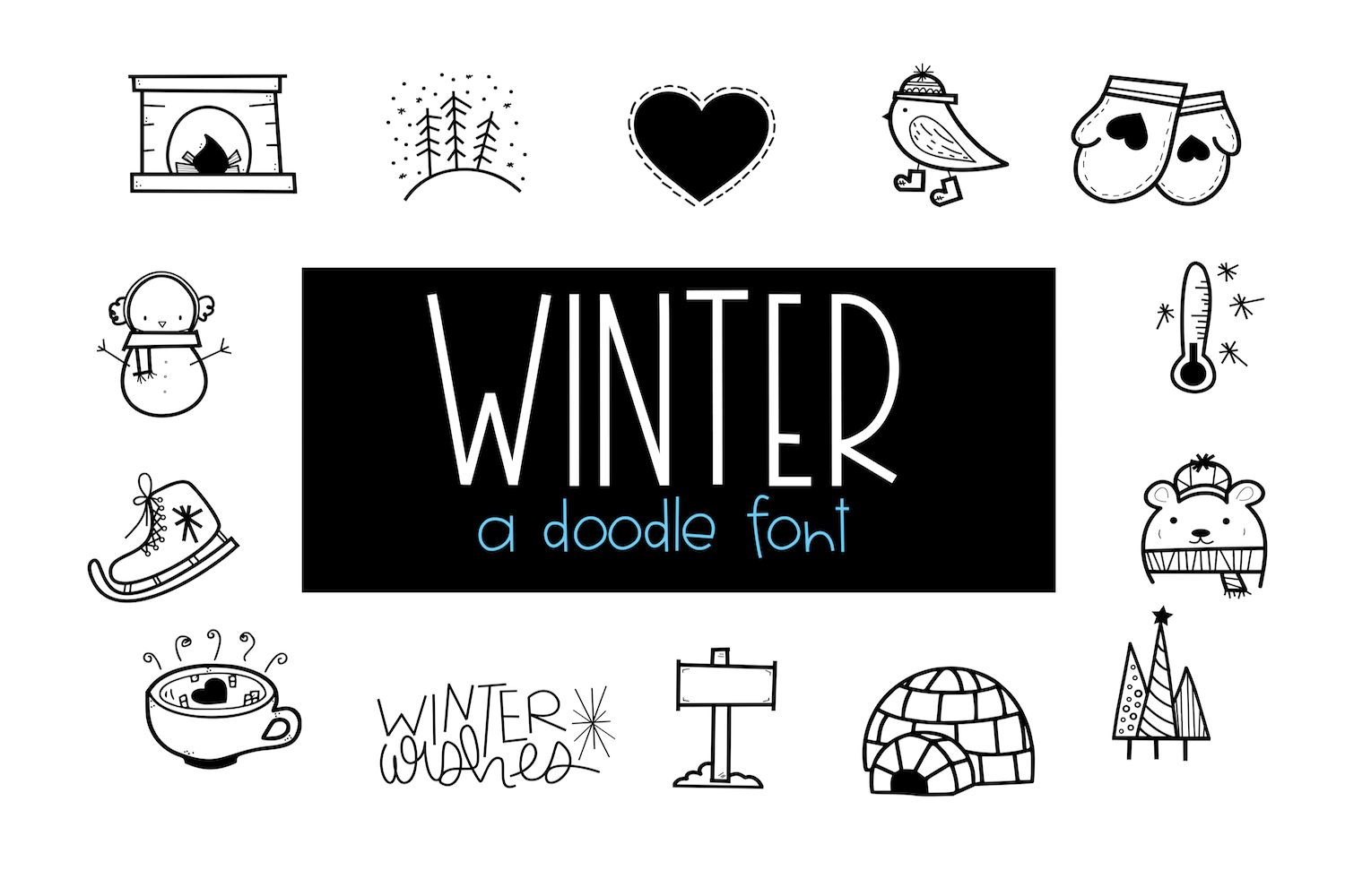 Winter Wishes - A Winter Doodles Font example image 1